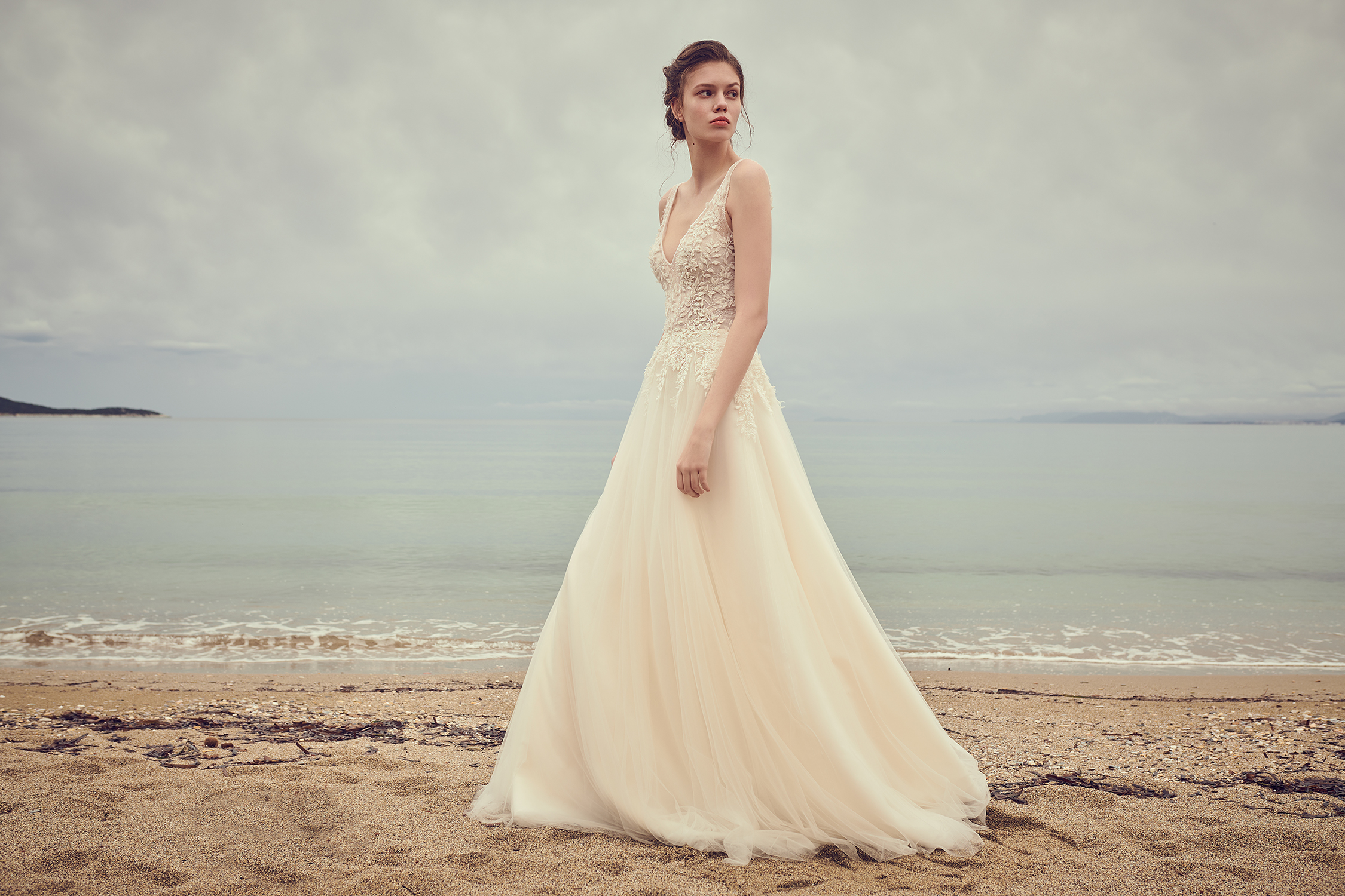costarellos v neck sleeveless ball gown wedding dress spring 2020