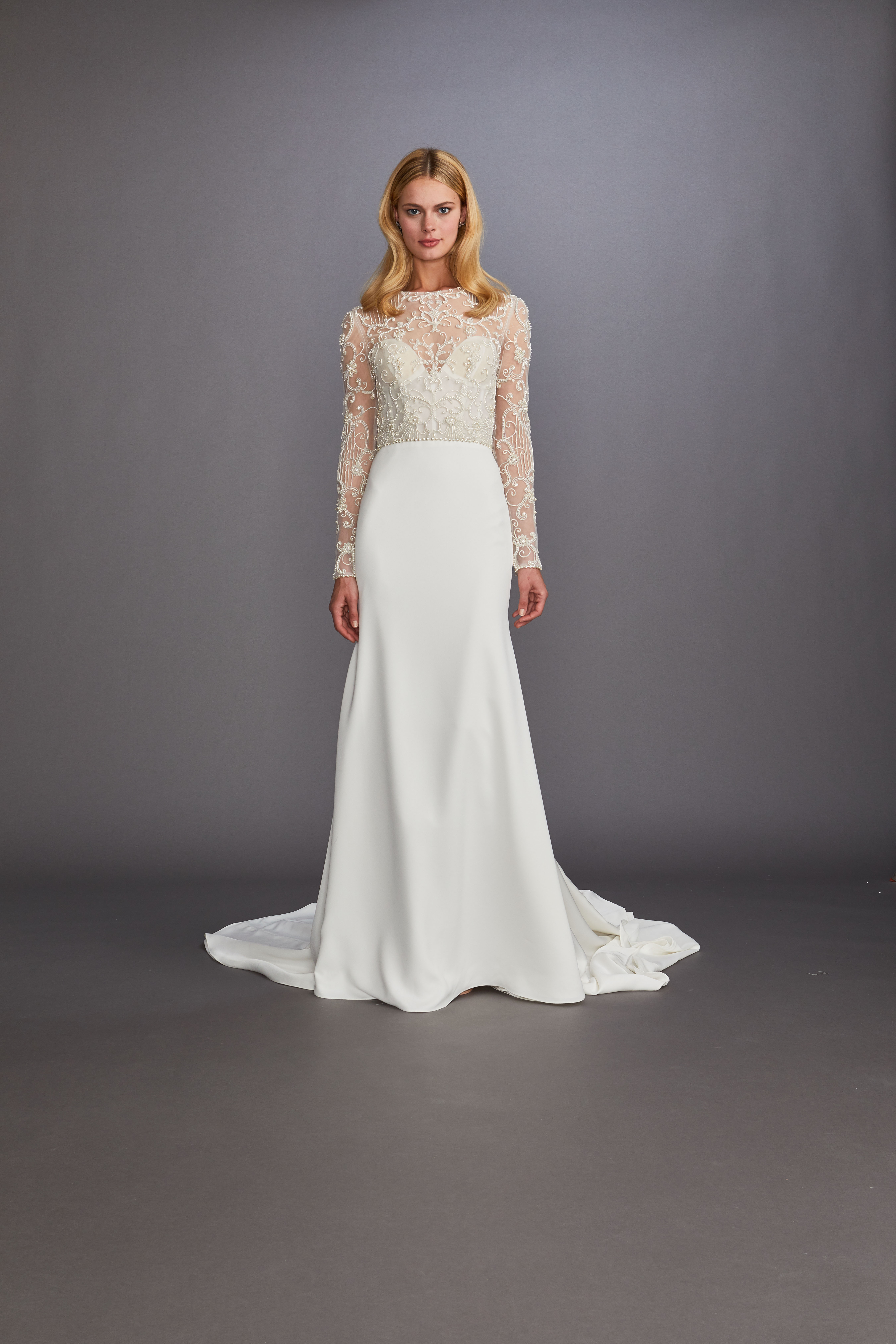 Lace Illusion jewel neck long sleeve a-line wedding dress Allison Webb Spring 2020