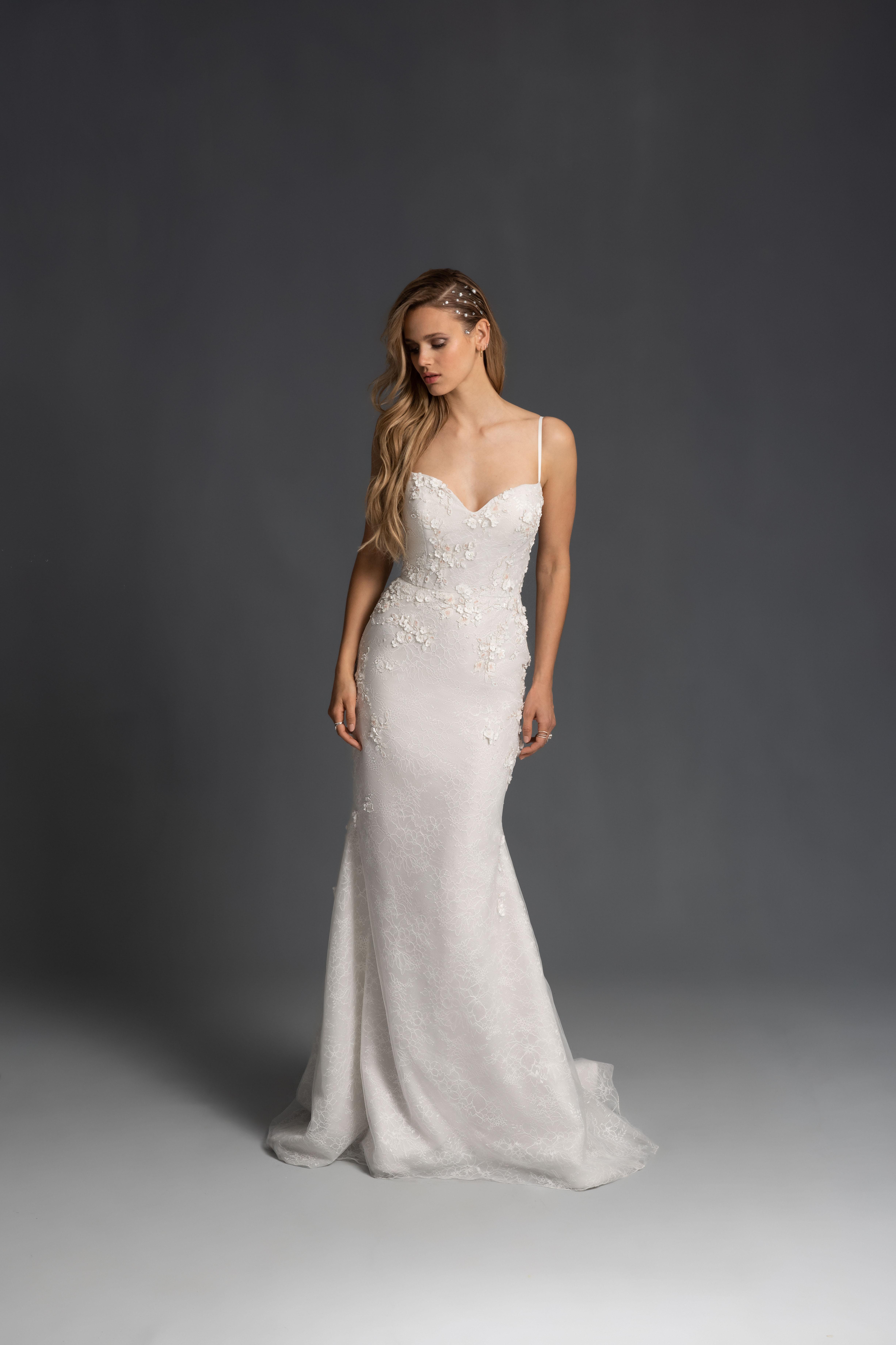 spaghetti strap sweetheart neckline semi trumpet wedding dress Hayley Paige Spring 2020