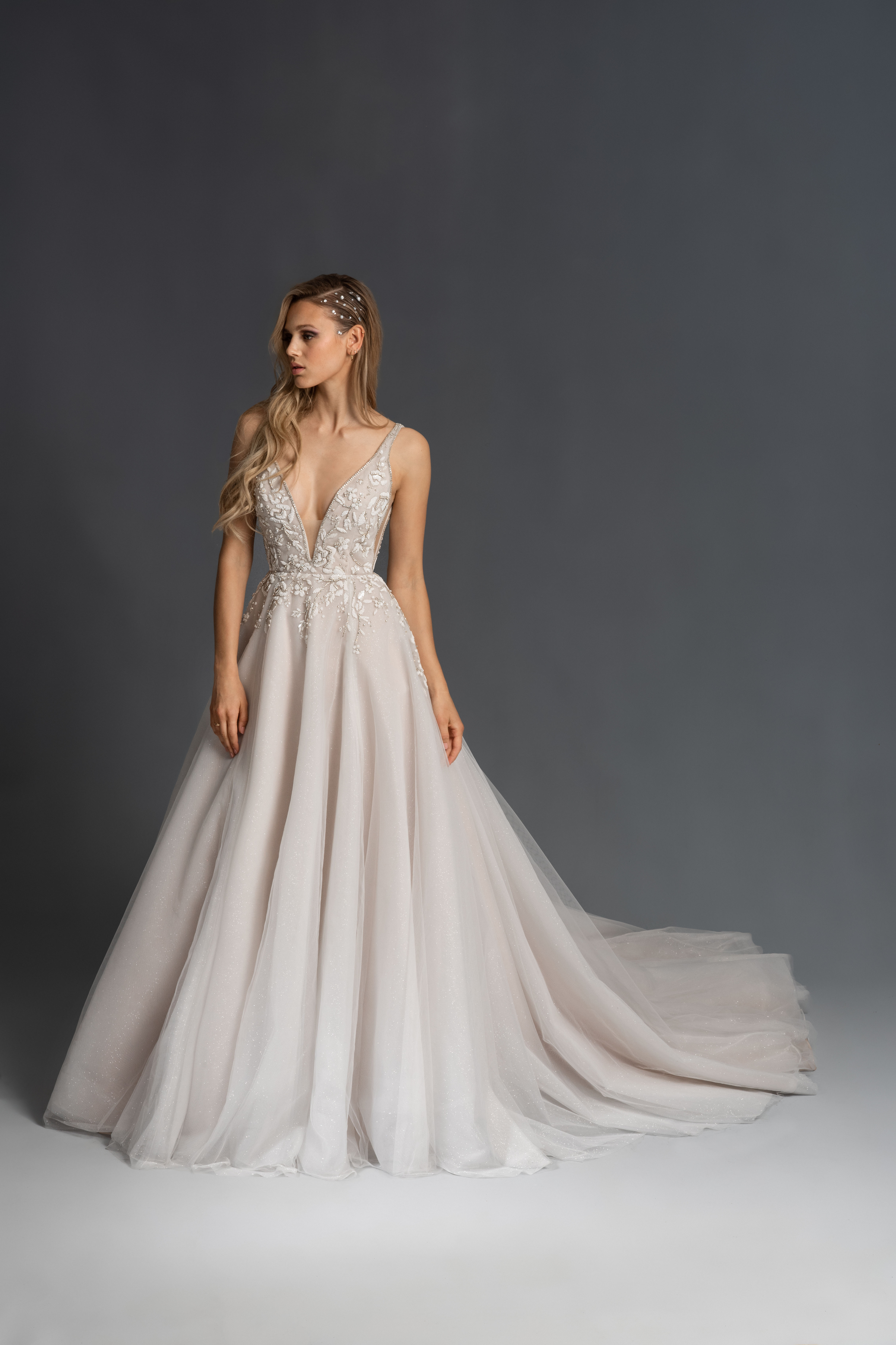 spaghetti strap plunging v-neck tulle skirt a-line wedding dress Hayley Paige Spring 2020