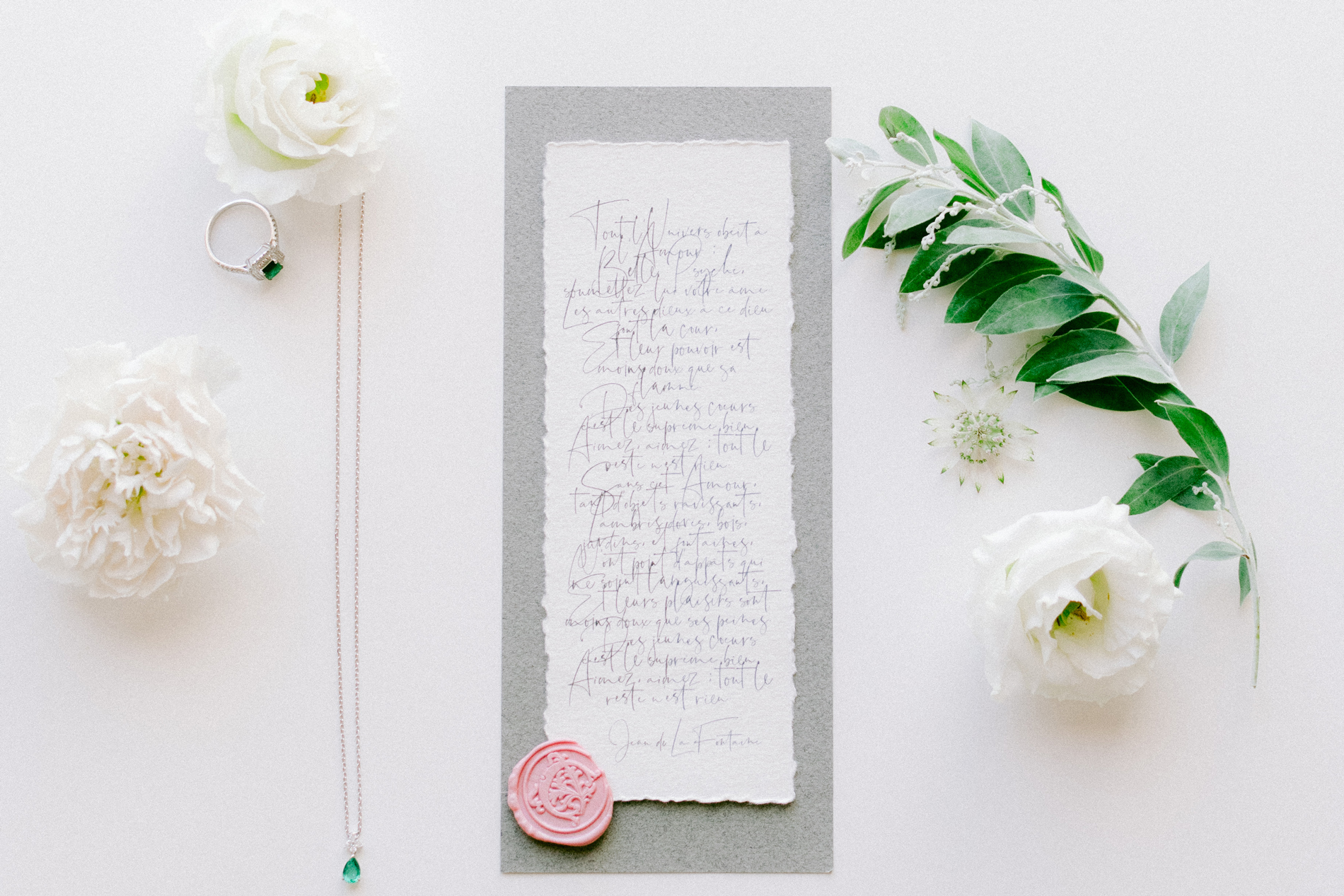 pre-written wedding vows on rough edged paper with wax seal