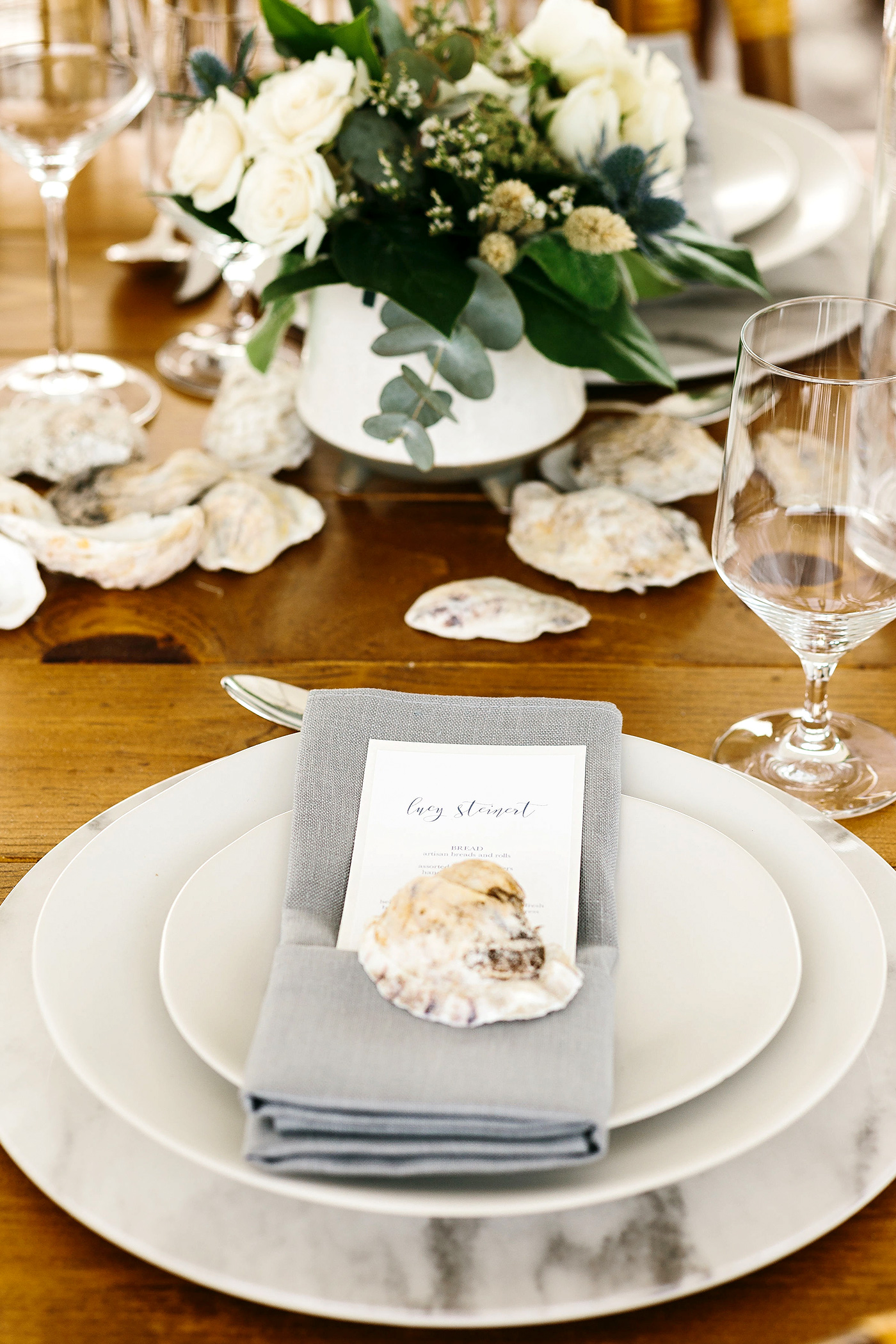 simple neutral reception place setting