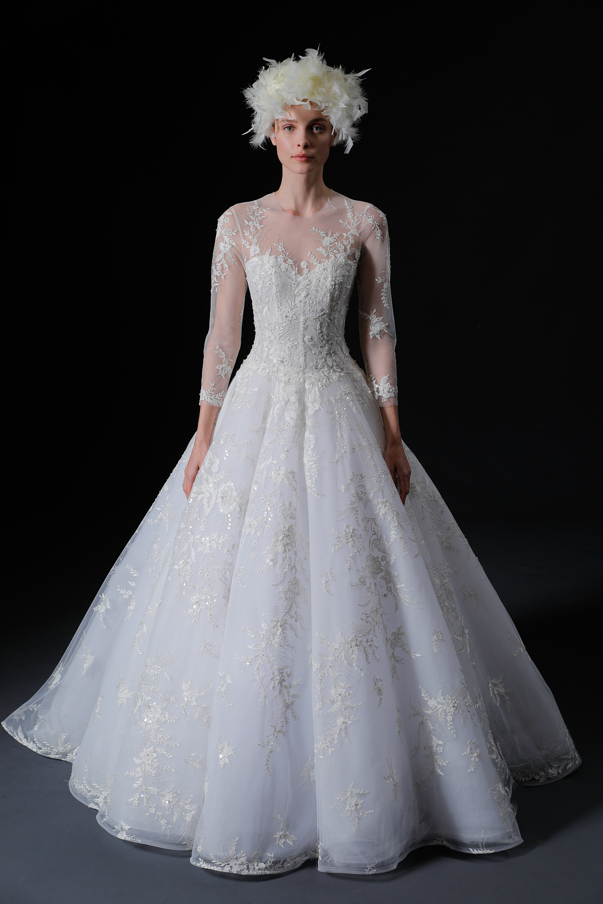 illusion jewel neckline lace three quarter sleeve a-line wedding dress Isabelle Armstrong Spring 2020