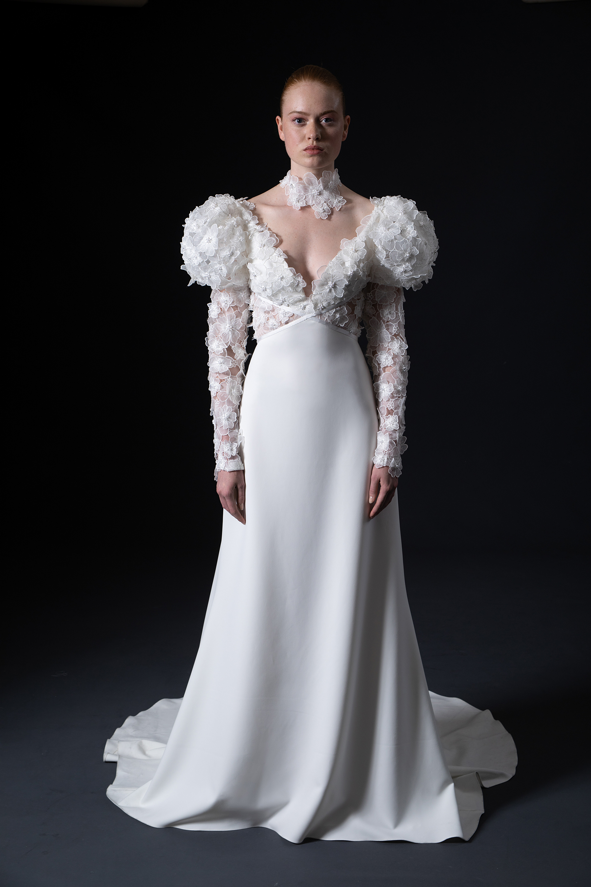 floral applique puffed long sleeves and bodice v-neck a-line wedding dress Isabelle Armstrong Spring 2020