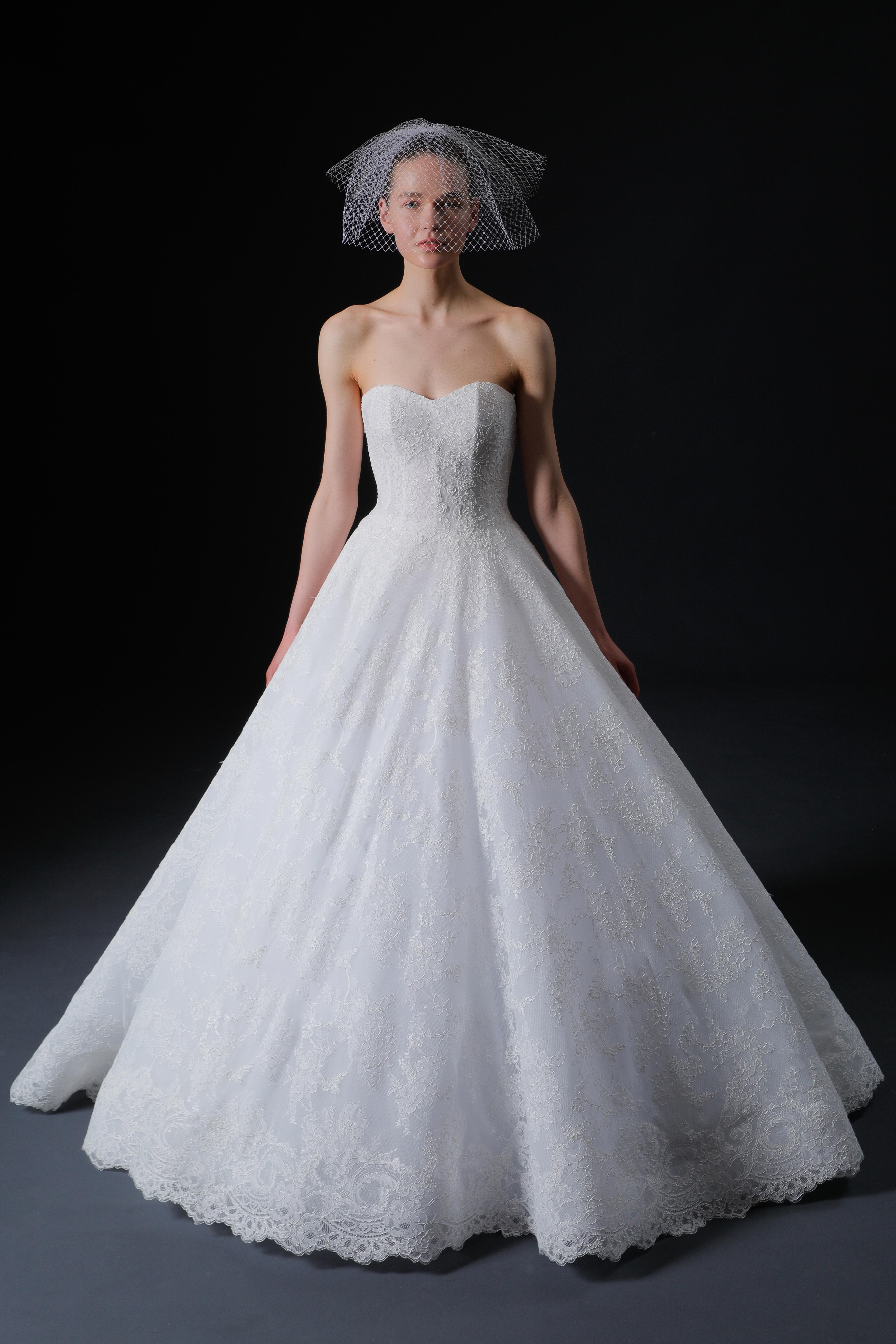 strapless semi sweetheart lace scalloped skirt hem a-line wedding dress Isabelle Armstrong Spring 2020
