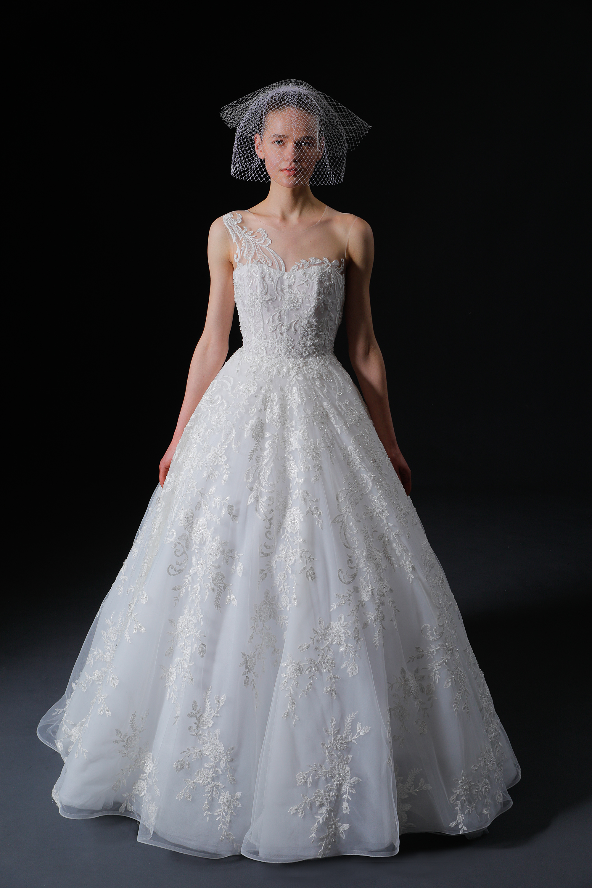 illusion jewel neck lace semi sweetheart glitter a-line wedding dress Isabelle Armstrong Spring 2020