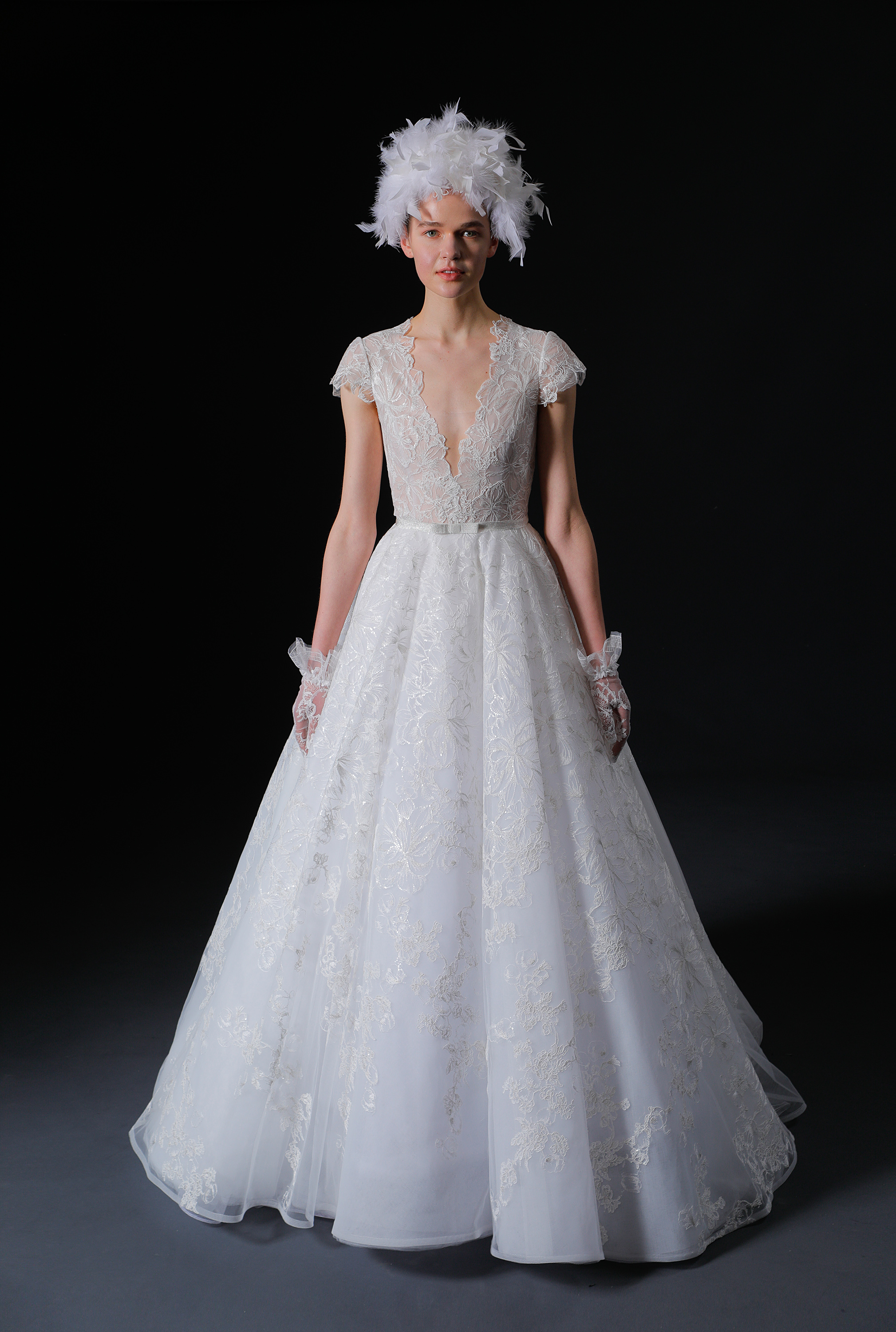 deep v-neck cap sleeves belted lace a-line wedding dress Isabelle Armstrong Spring 2020