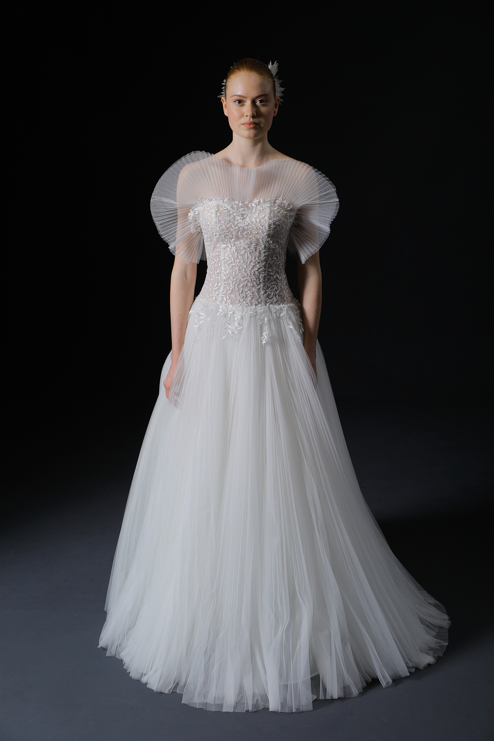 strapless exposed boning crimped fabric lace a-line wedding dress Isabelle Armstrong Spring 2020