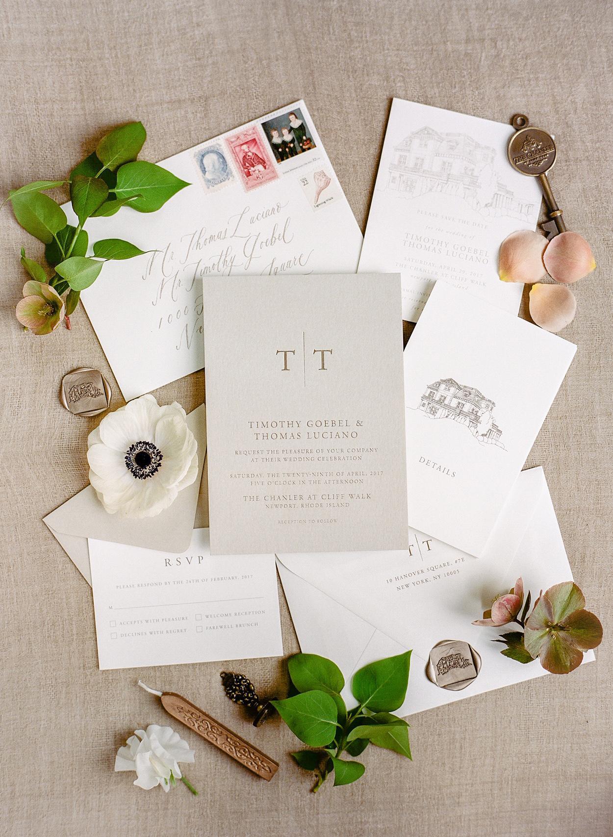 wedding invitation negative modern monogram