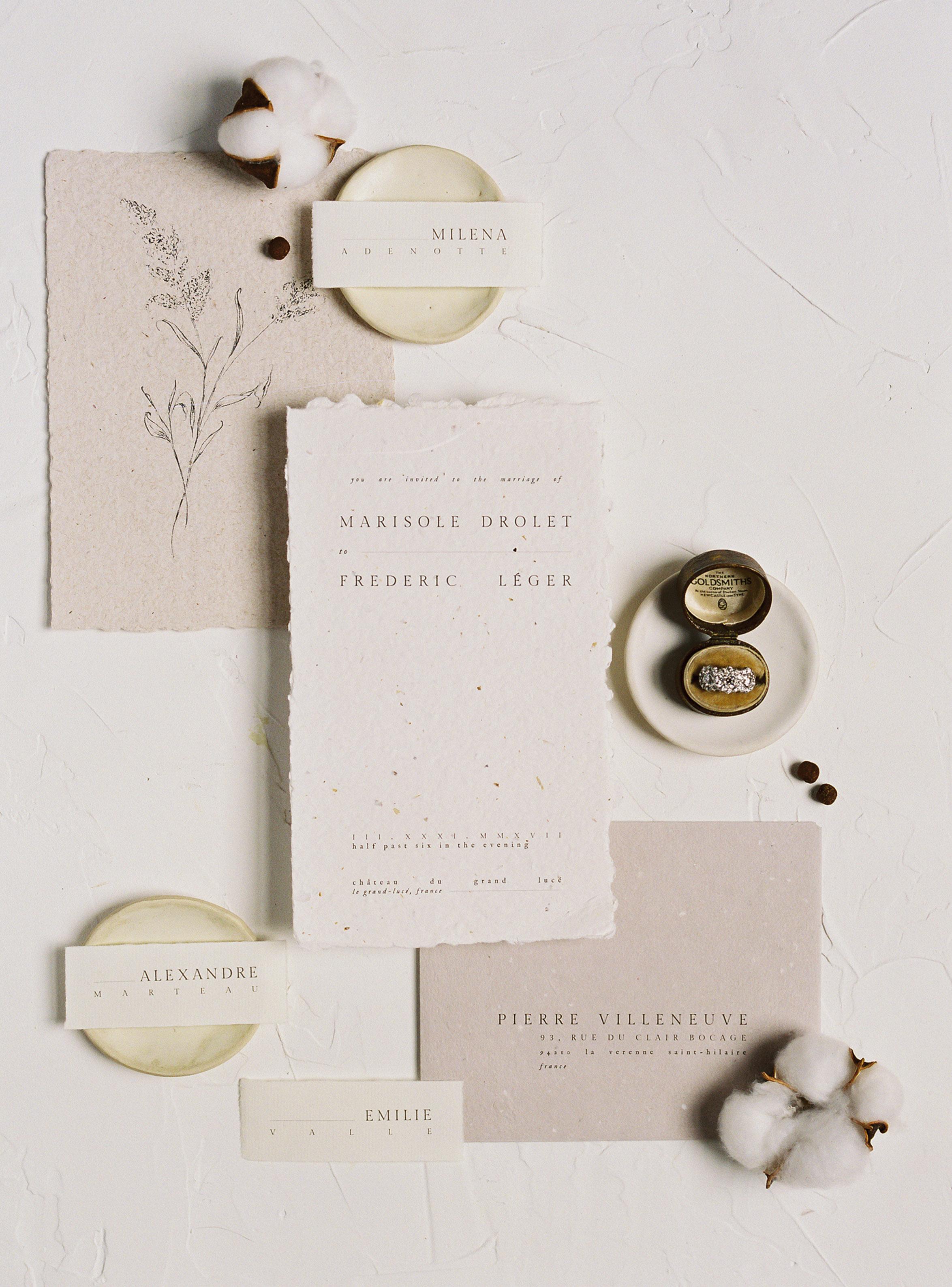 wedding invitation negative space small type minimalism
