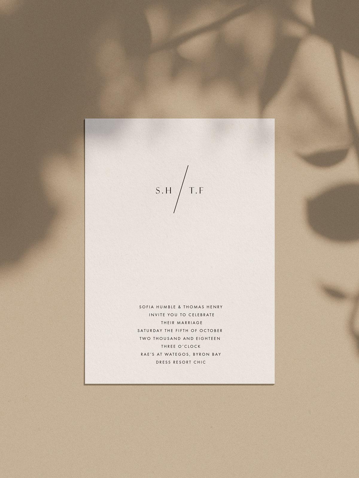 wedding invitation negative space modern minimal refined