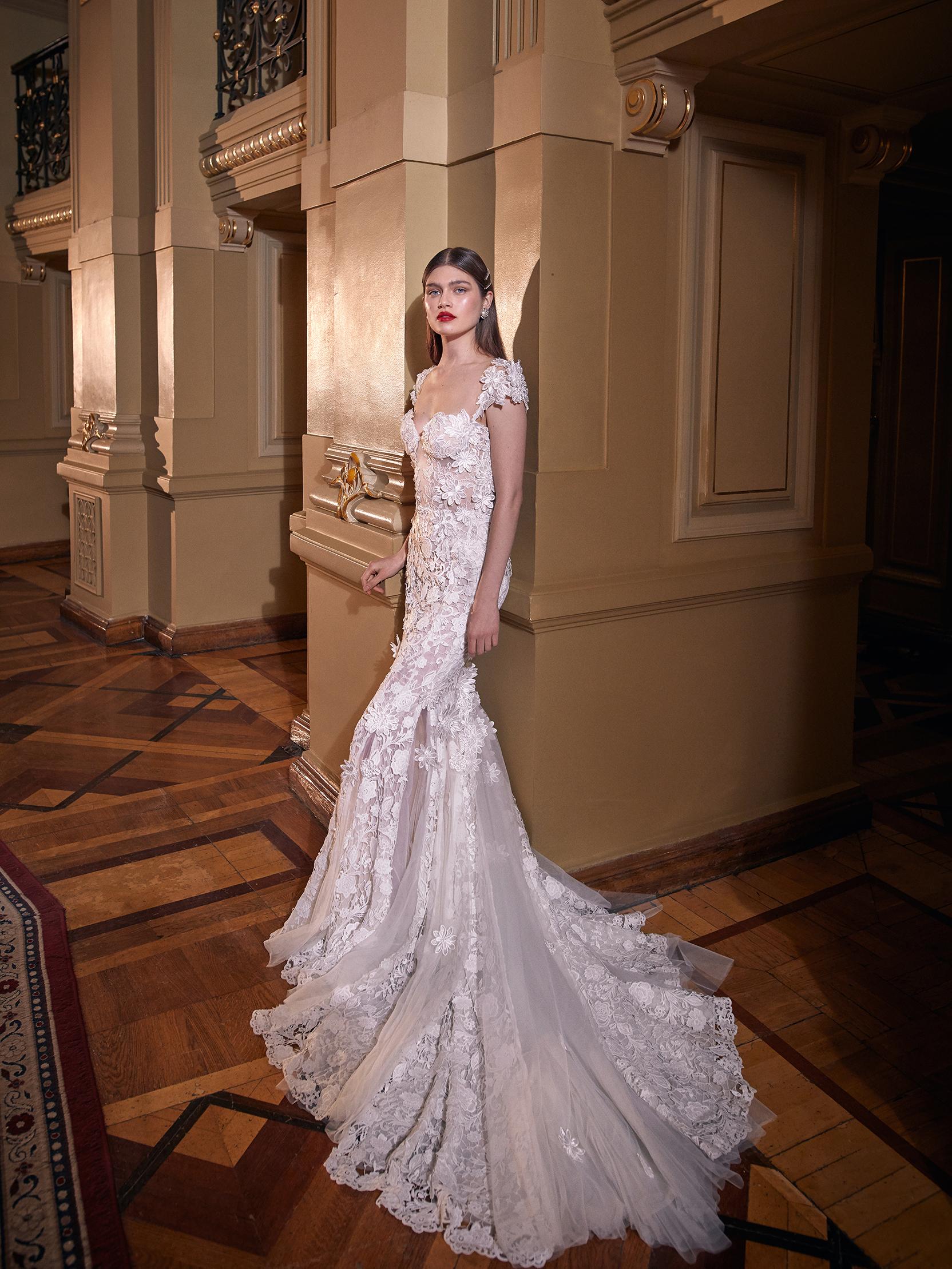 galia lahav cap sleeves embellished trumpet wedding dress spring 2020