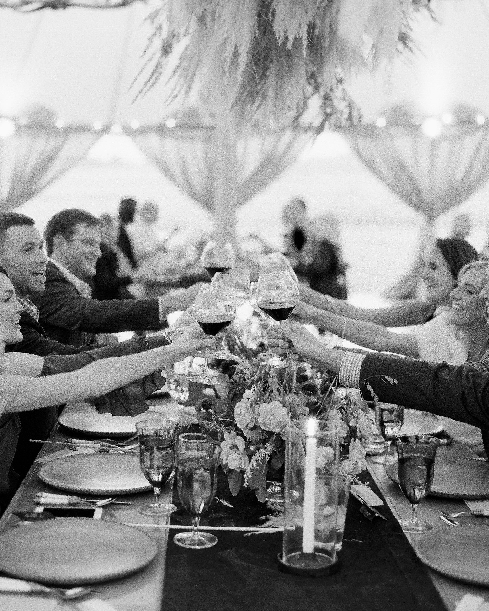 rehearsal dinner toast with wine