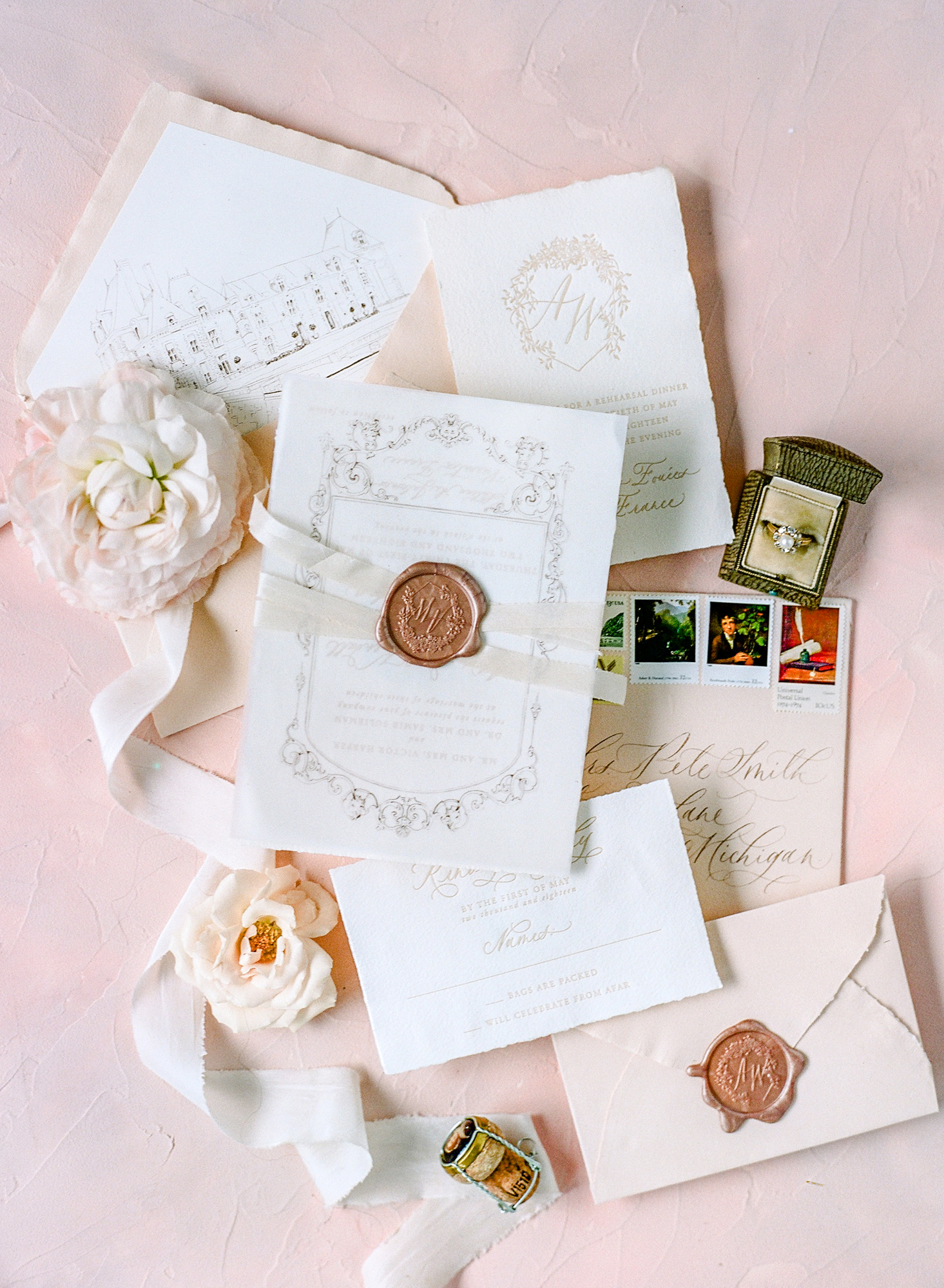 classic invitation pink and white color elements with illustration etching