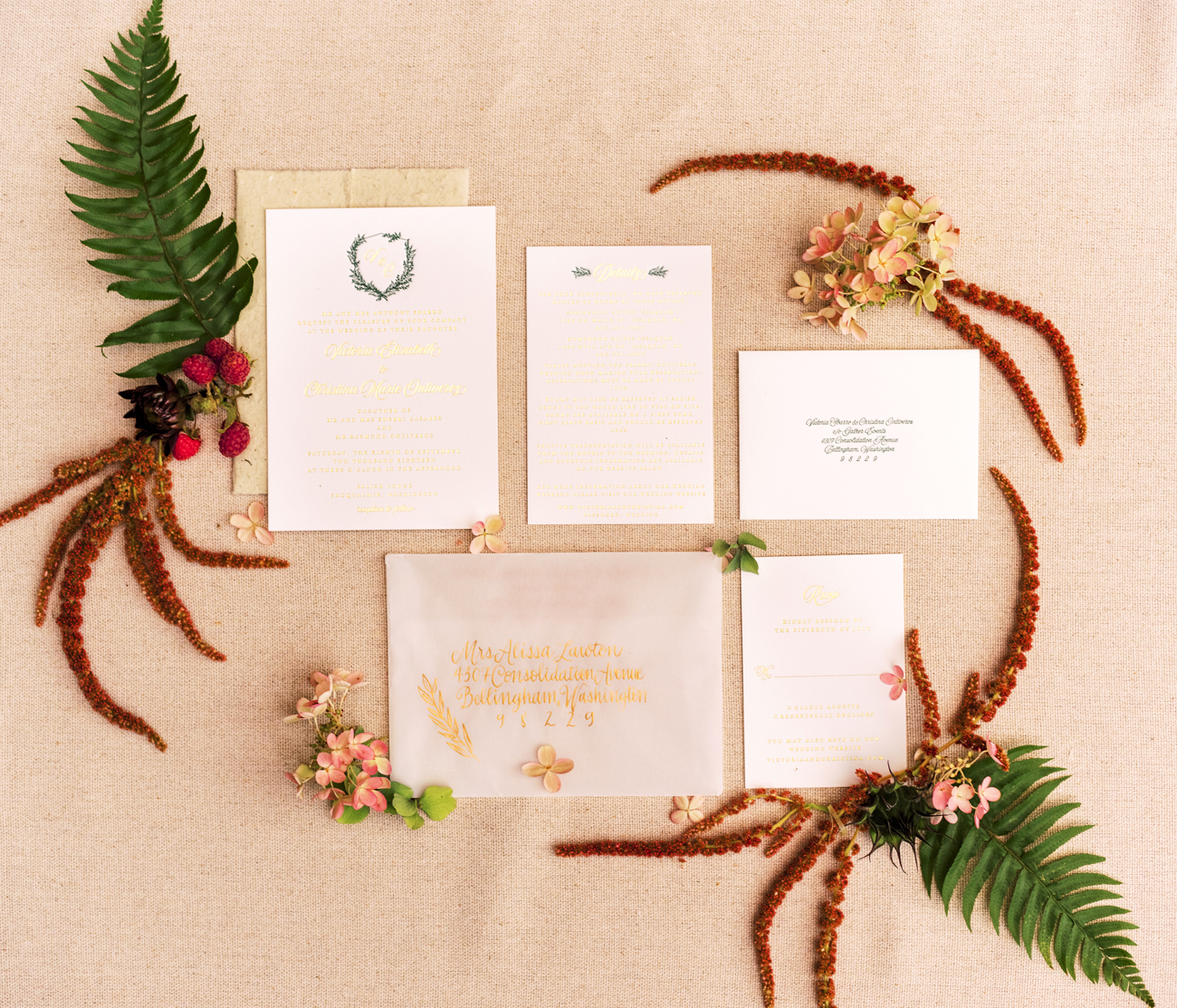 gold foil wedding stationary suit with wax seal