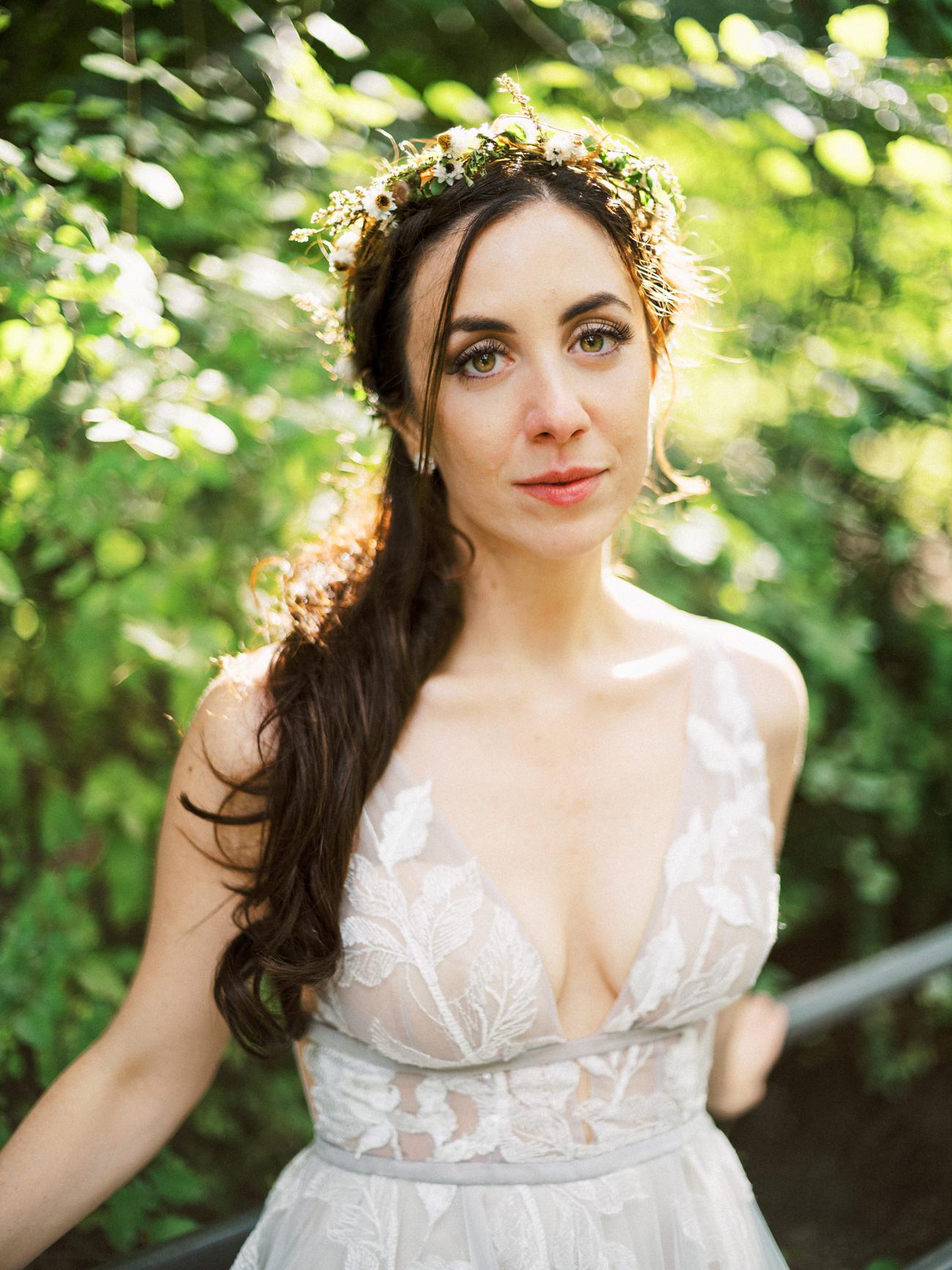 bride outside wearing flower crown