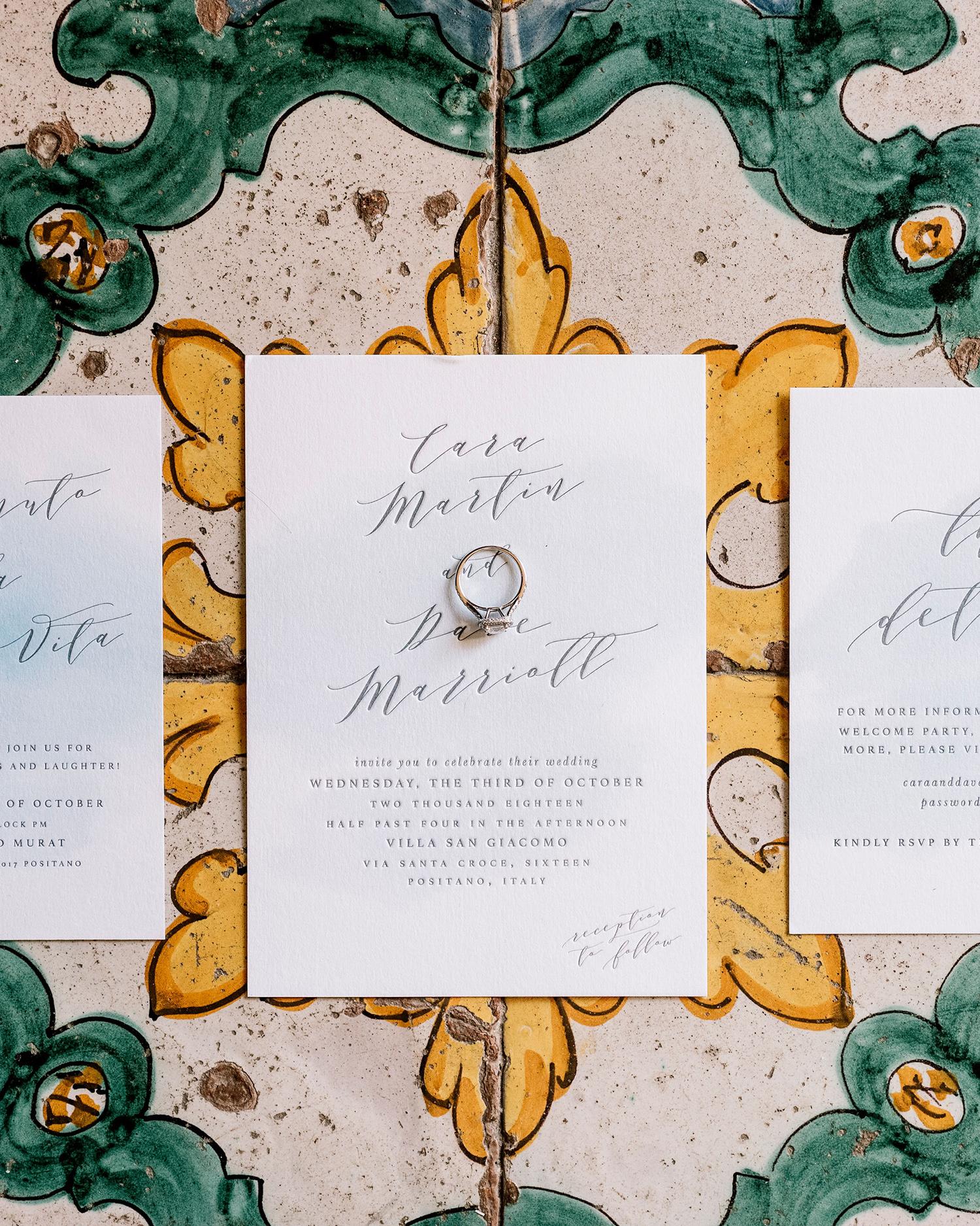 cara david wedding invites