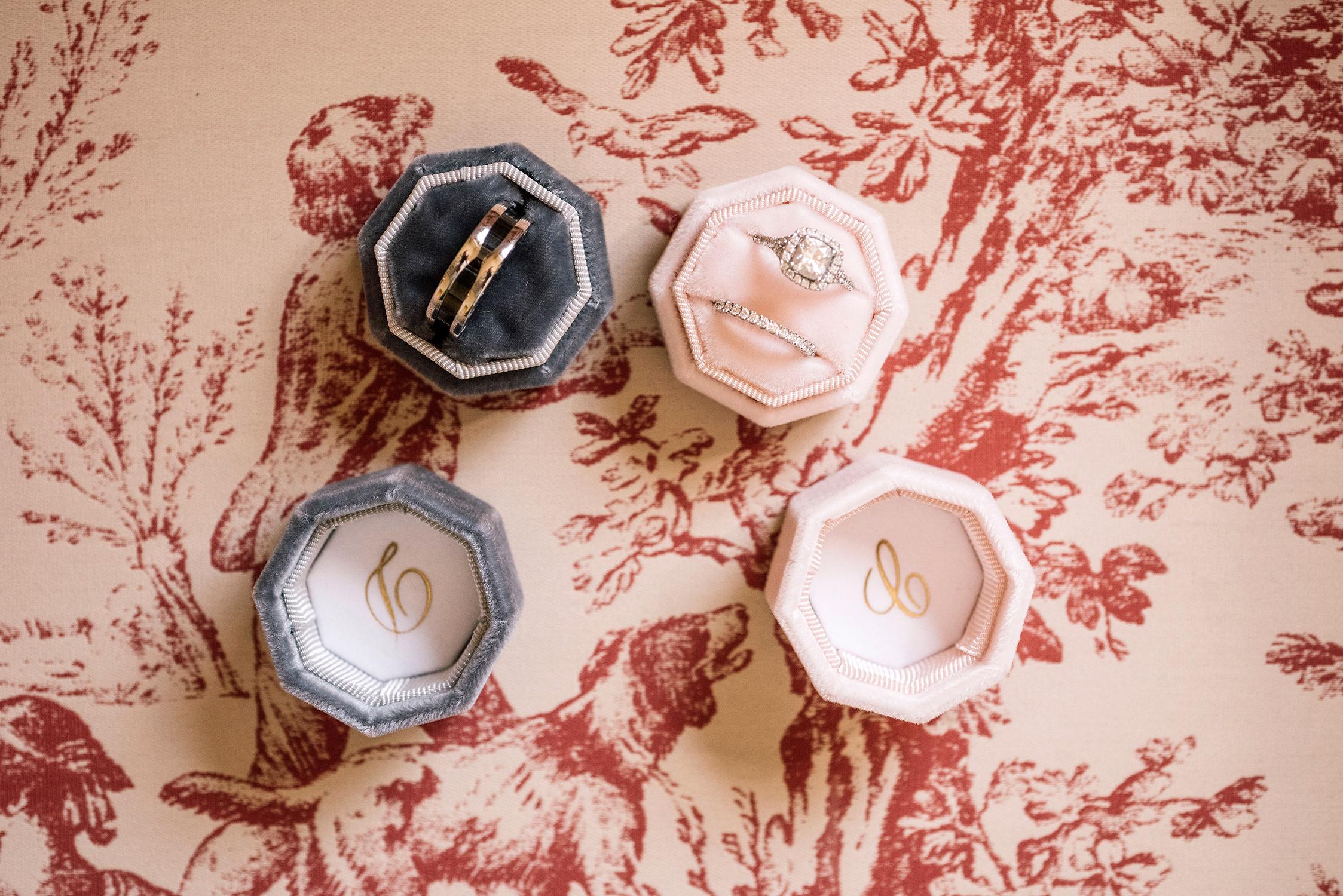 cara david wedding rings in decorative boxes