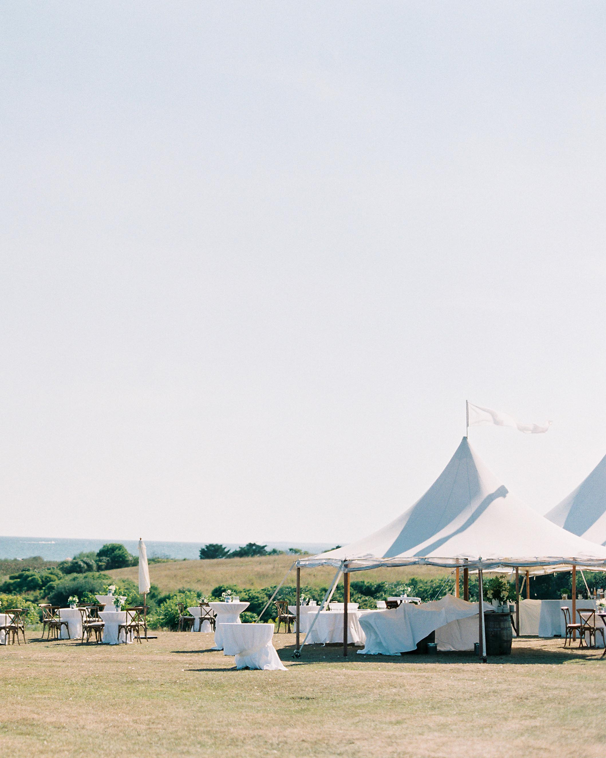 cocktail hour under white tents