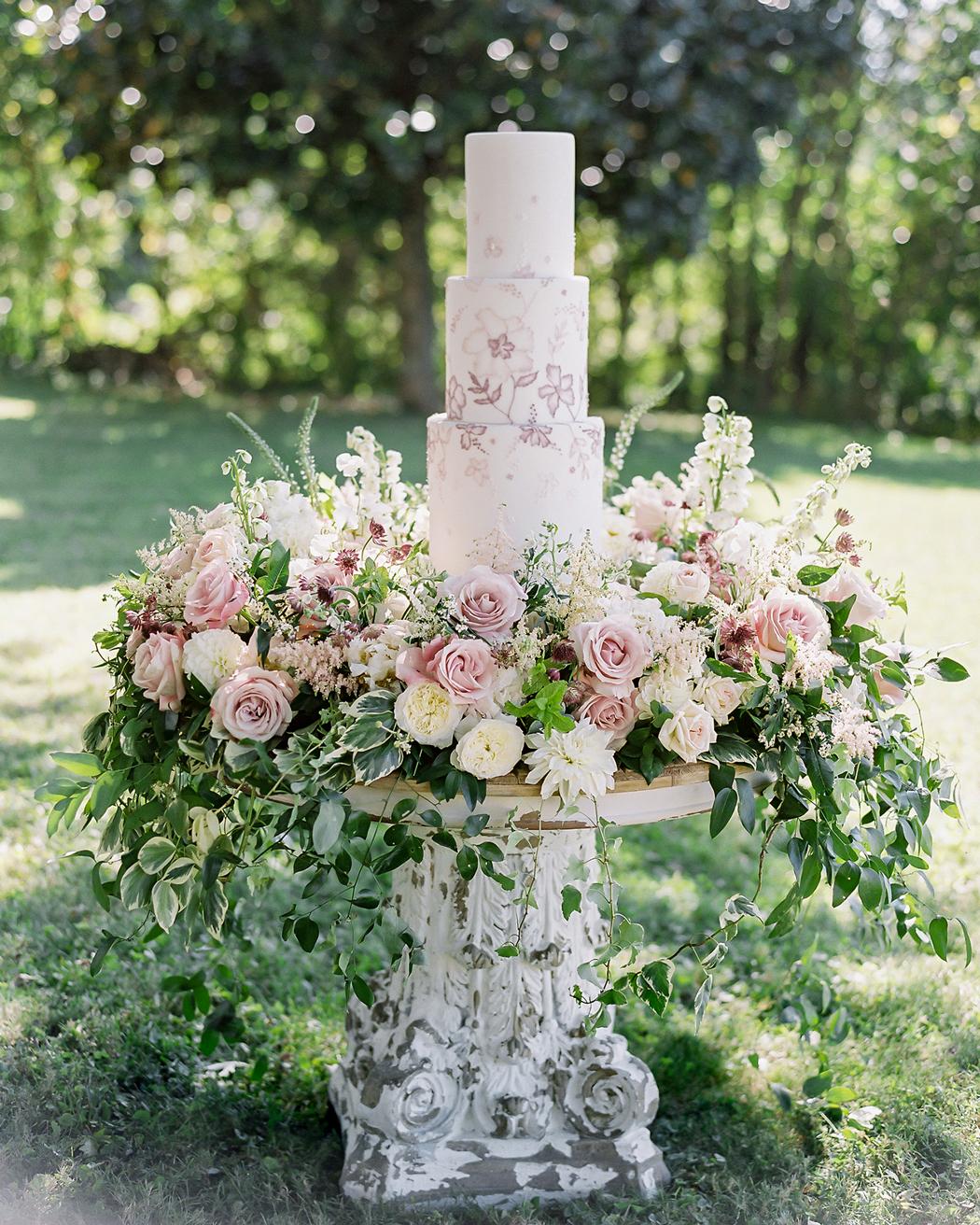 floral-filled cake and dessert display