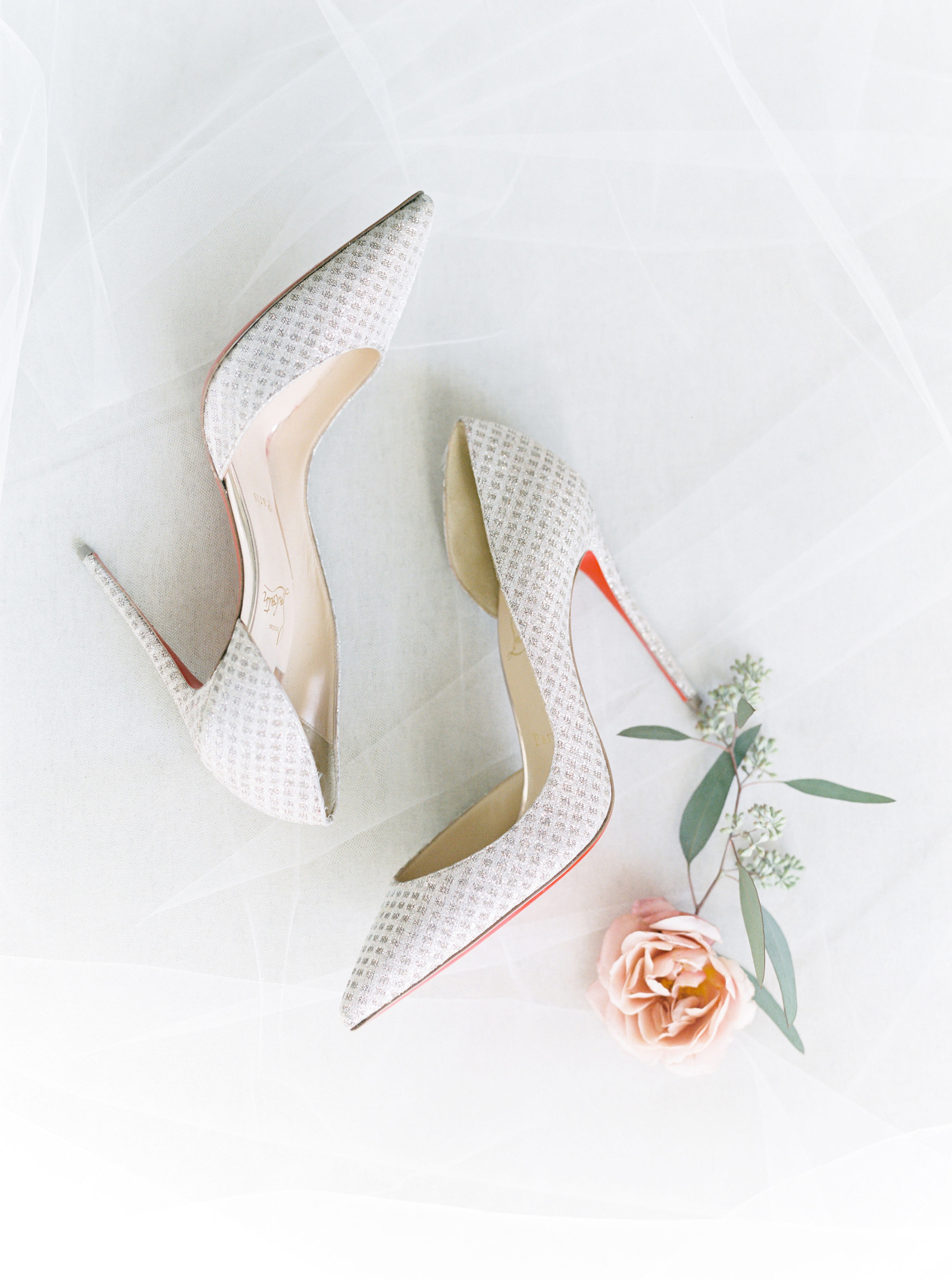 pointed toe silver patterned Christian Louboutins wedding heels