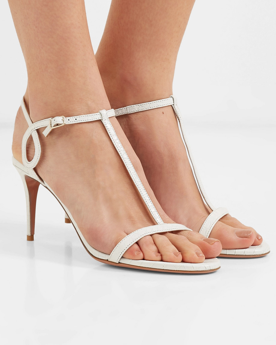 white leather strappy sandals