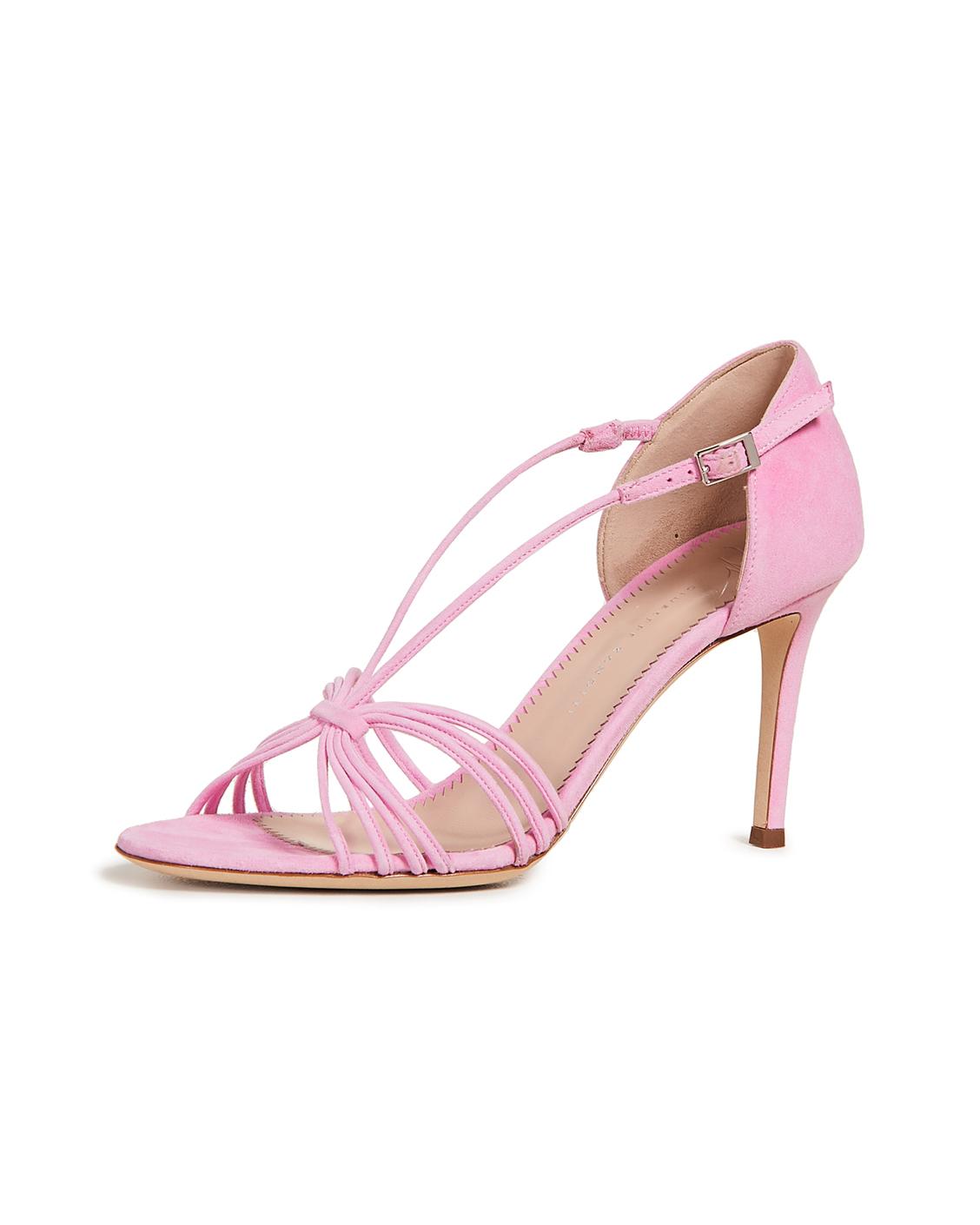 pink strappy high-heel sandals