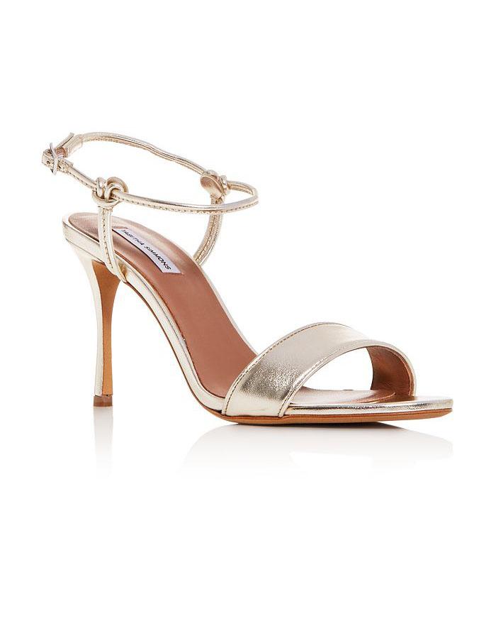 metallic high-heel sandals