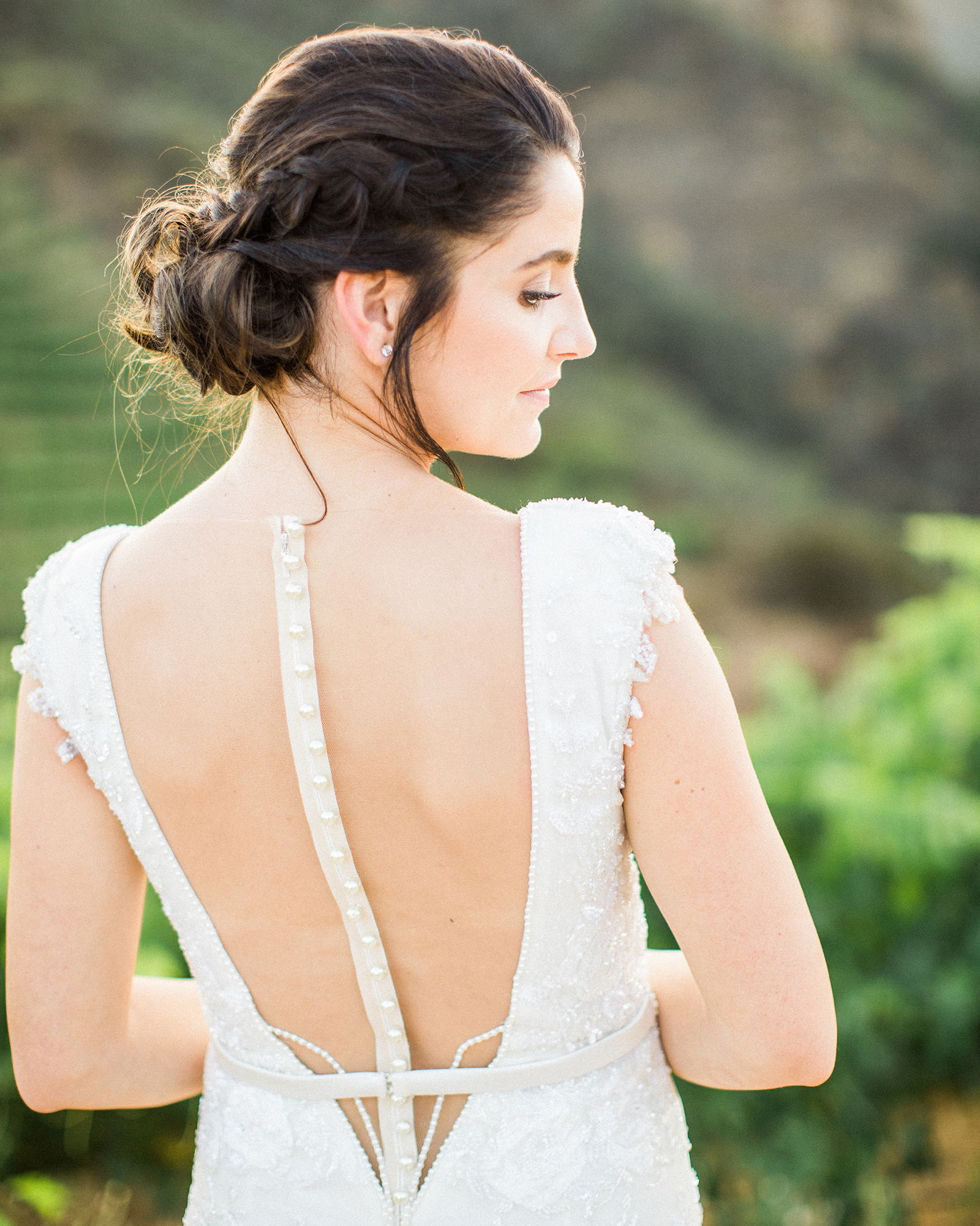 wedding dresses with buttons illusion back short sleeves