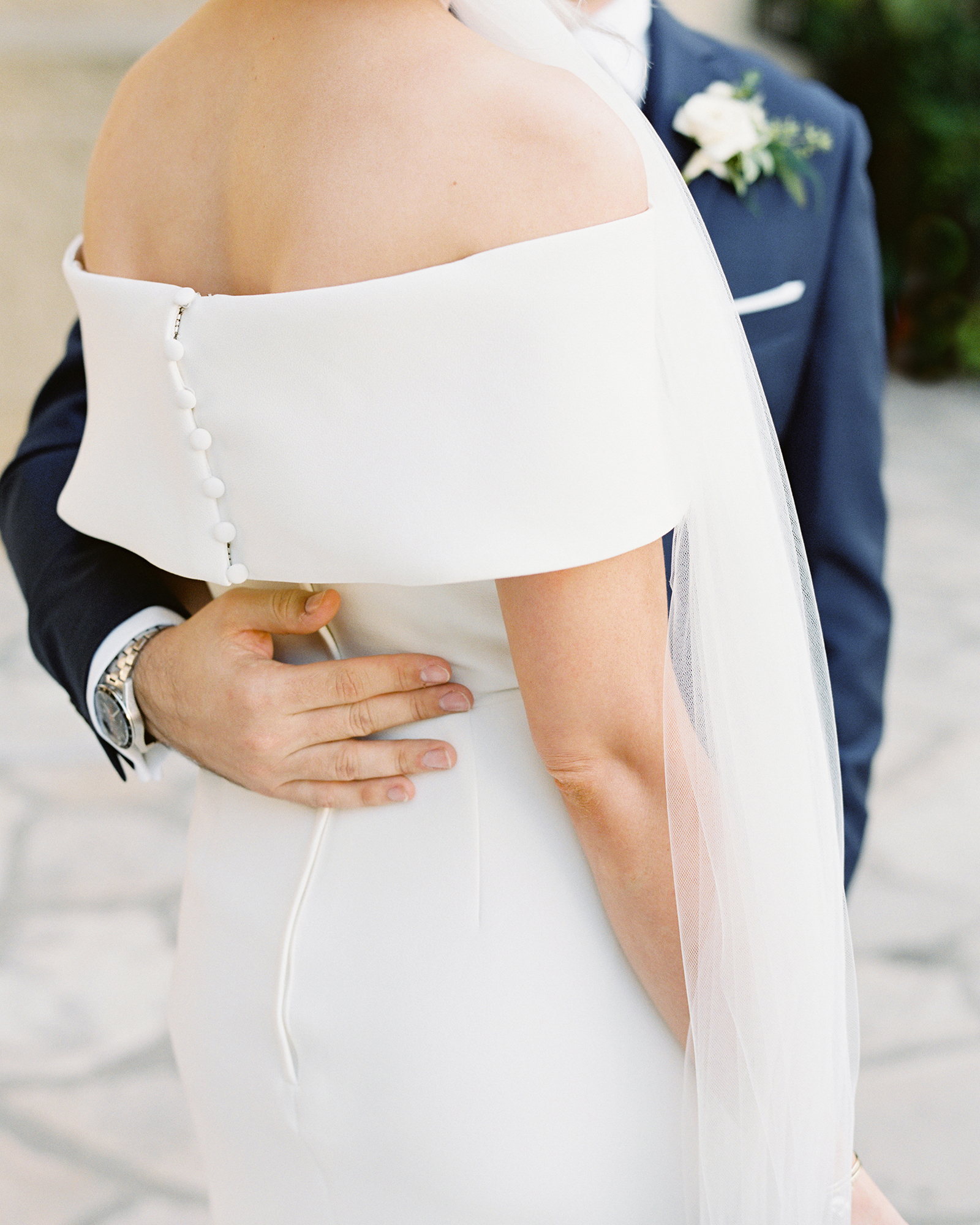 wedding dresses with buttons off the shoulder