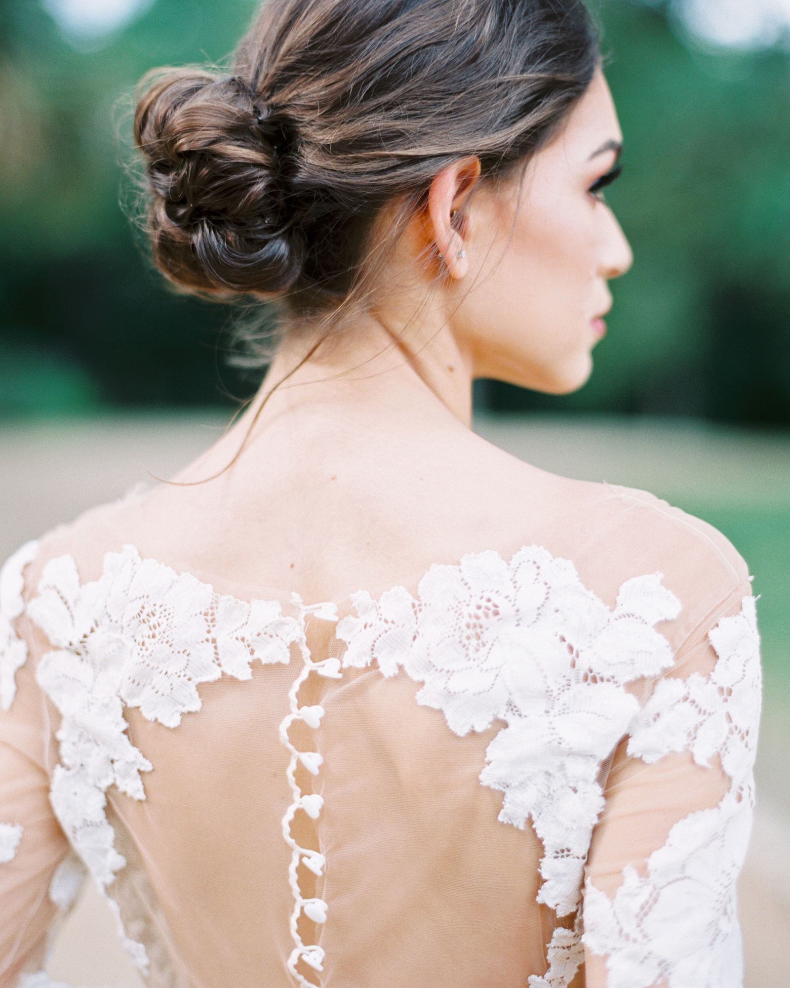wedding dresses with buttons lace long sleeves