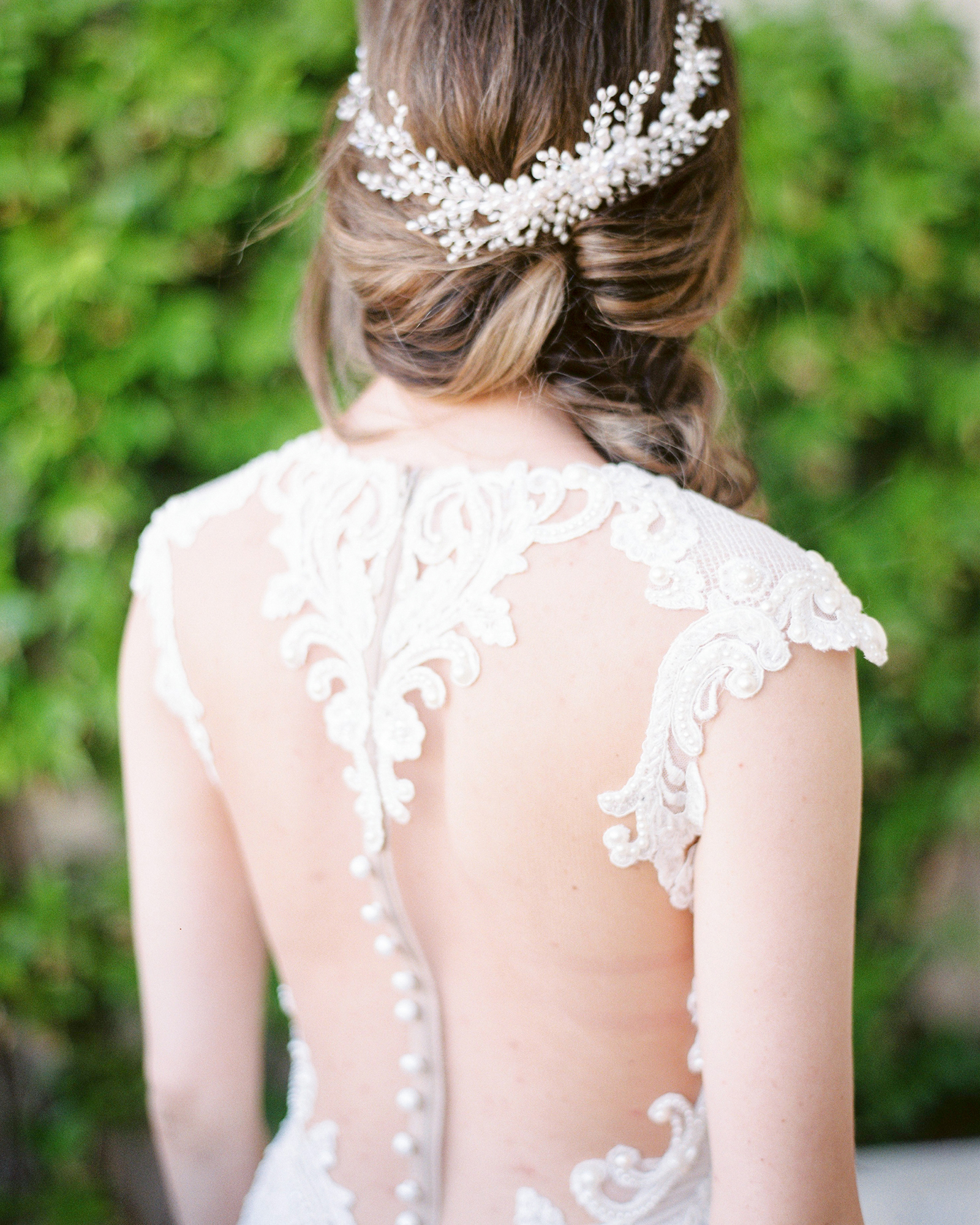 wedding dresses with buttons illusion high neck lace