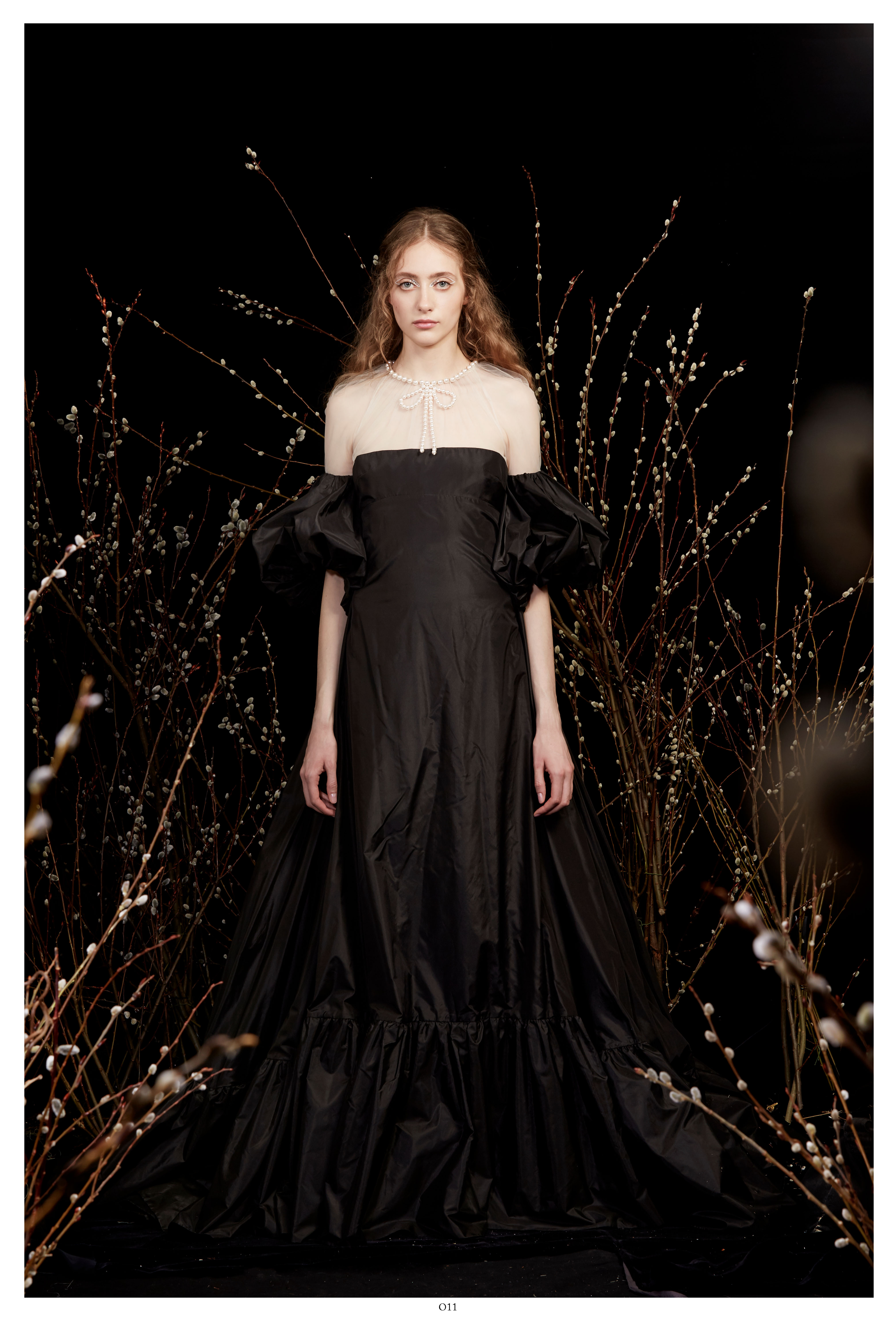 black off-the-shoulder puffed short sleeves a-line wedding dress Honor Spring 2020