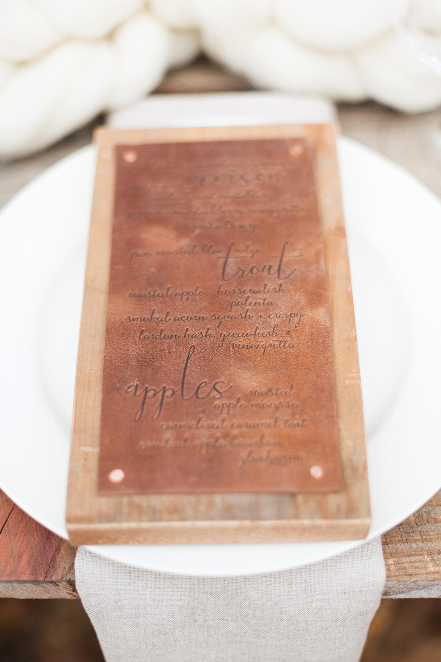 leather wedding ideas textured menu