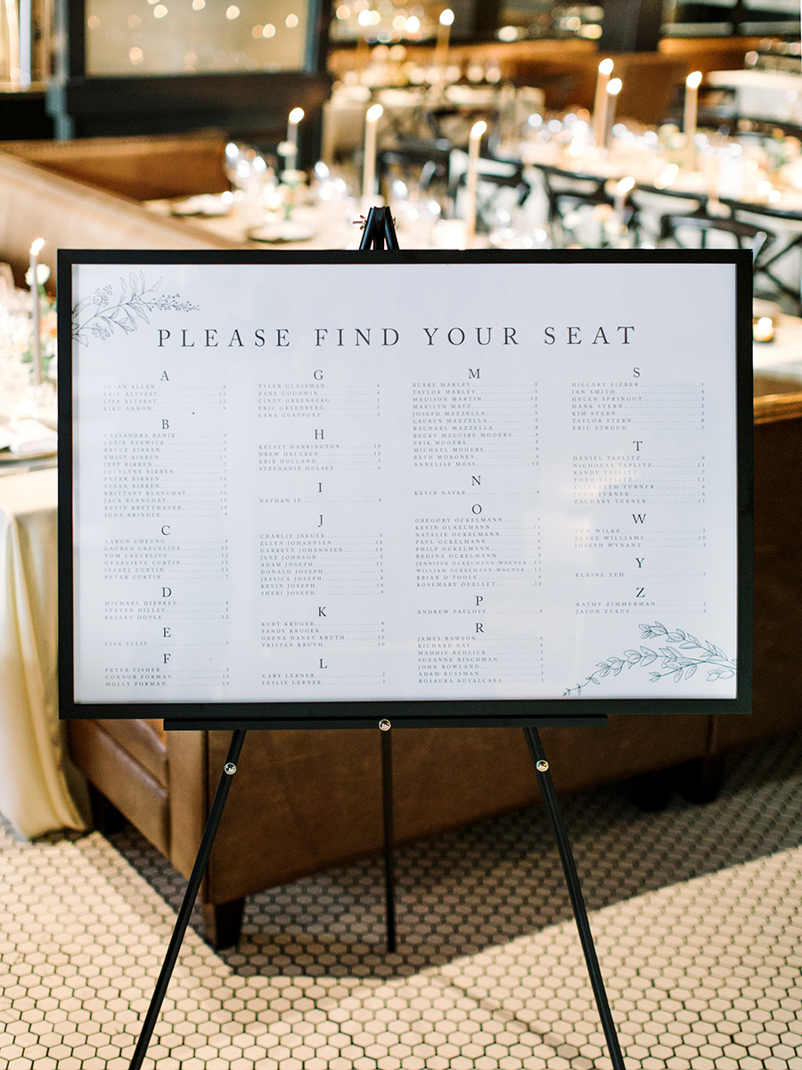 seating chart on white board with black frame