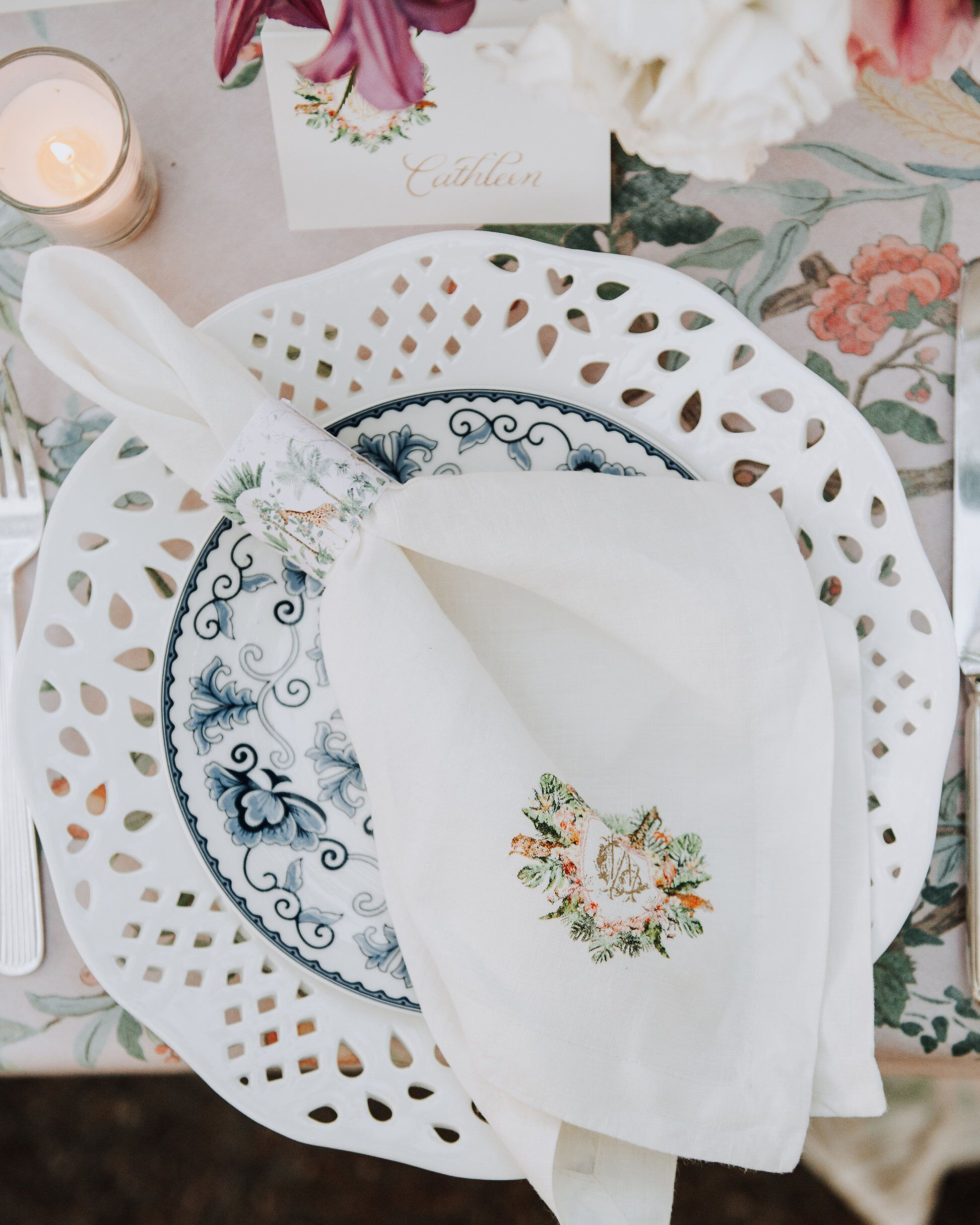 cathleen and winston wedding place setting with monogrammed napkin and napkin ring