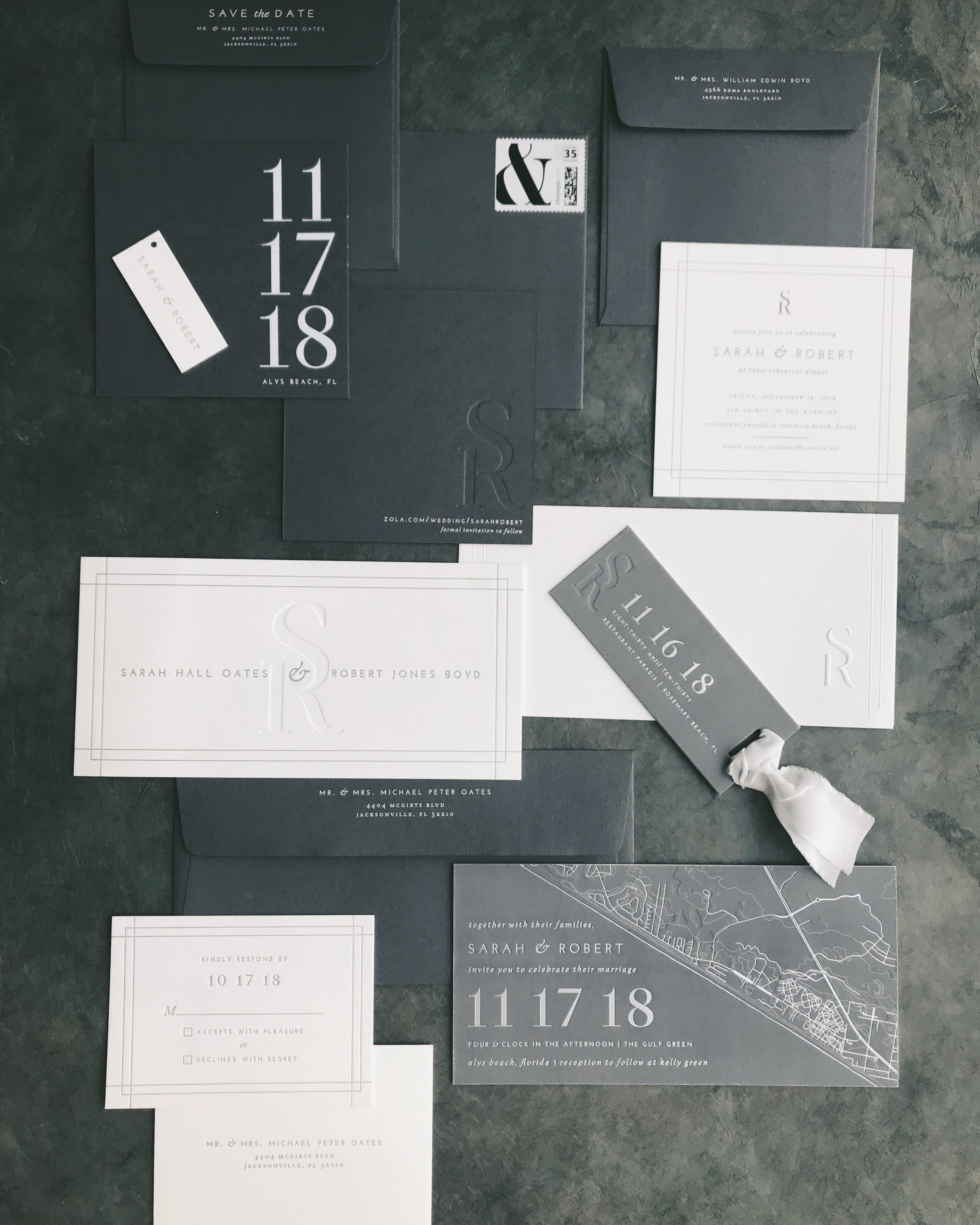 monochromatic wedding stationery suite horizontal