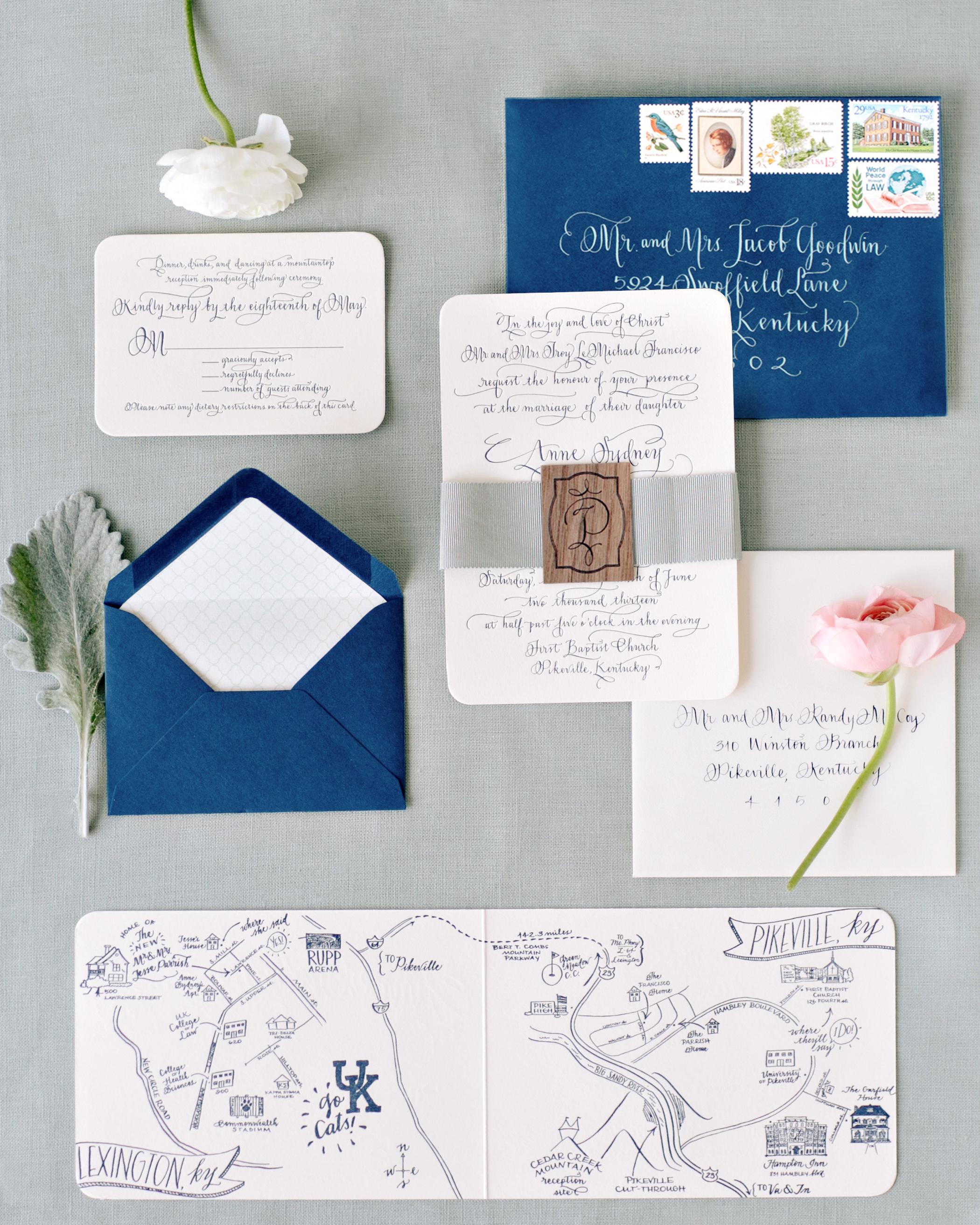 wedding stationery horizontal venue map blue envelope