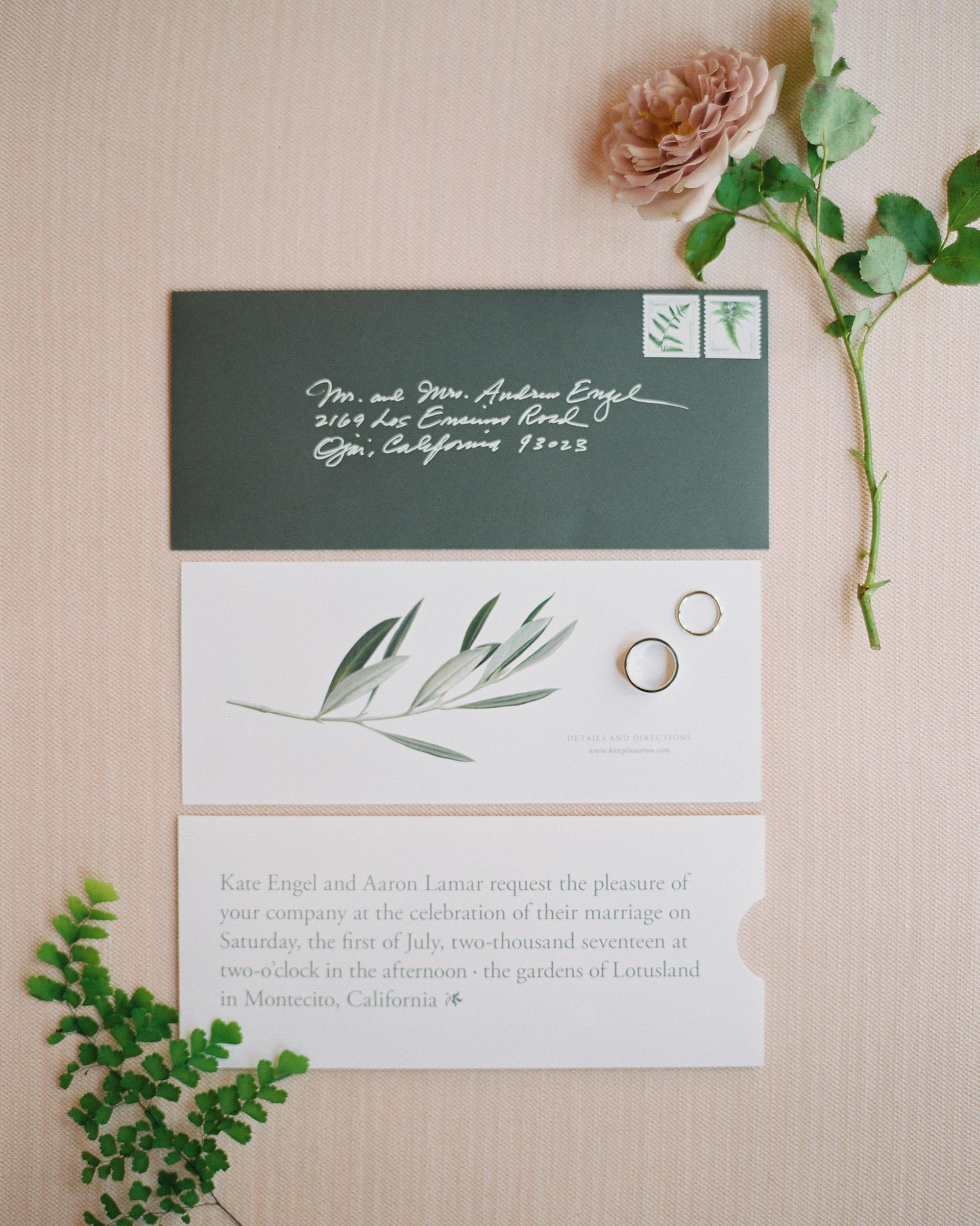 wedding stationery east-west horizontal creative wording olive branch