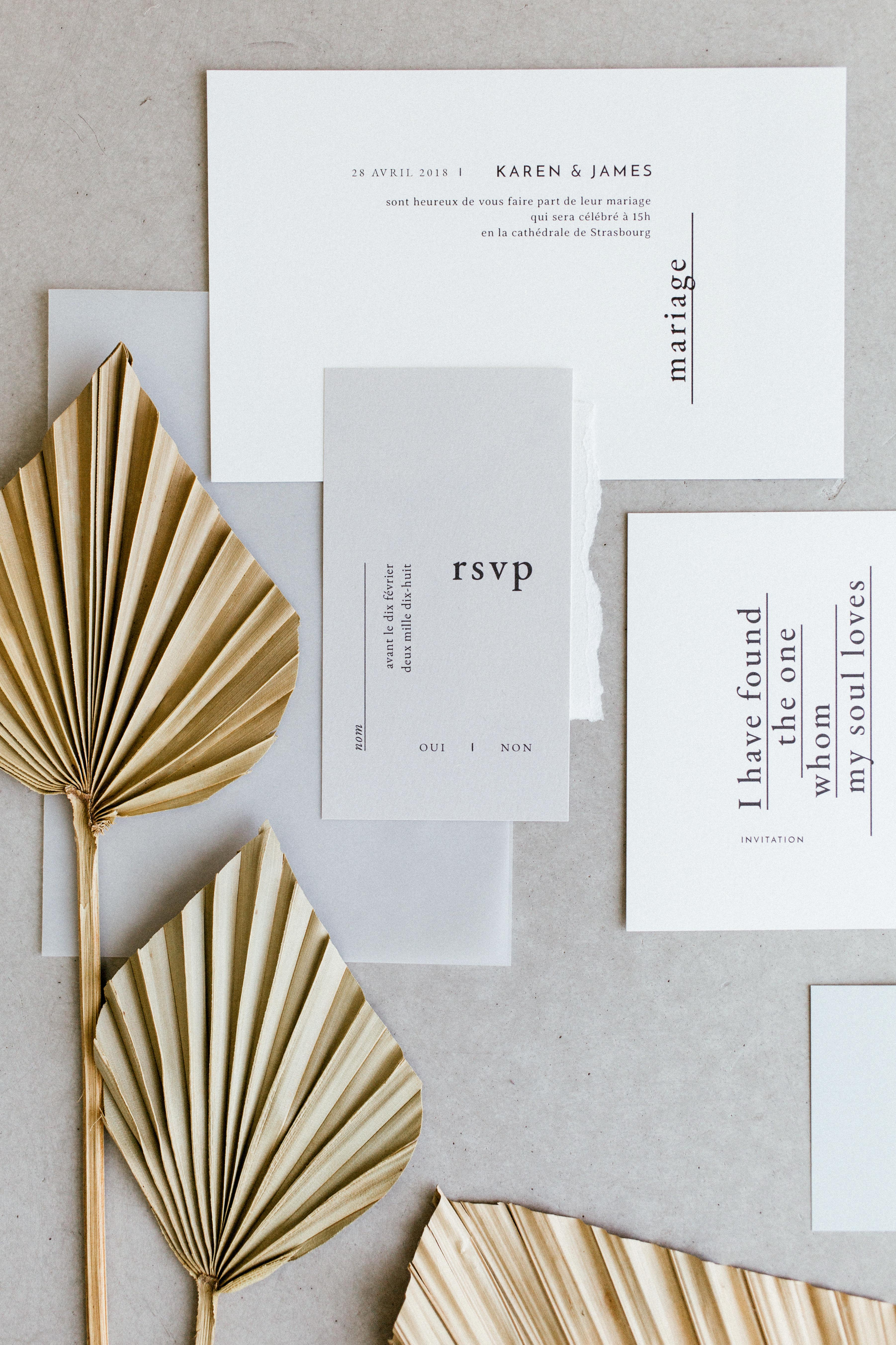 wedding invitation negative space serif font white gray