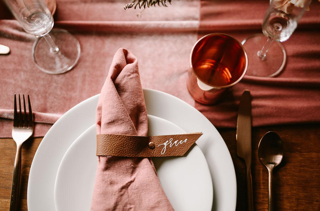 leather wedding ideas leather place card napkin tie