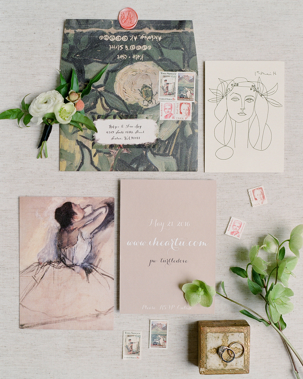 art-inspired wedding ideas modern painting stationary suite