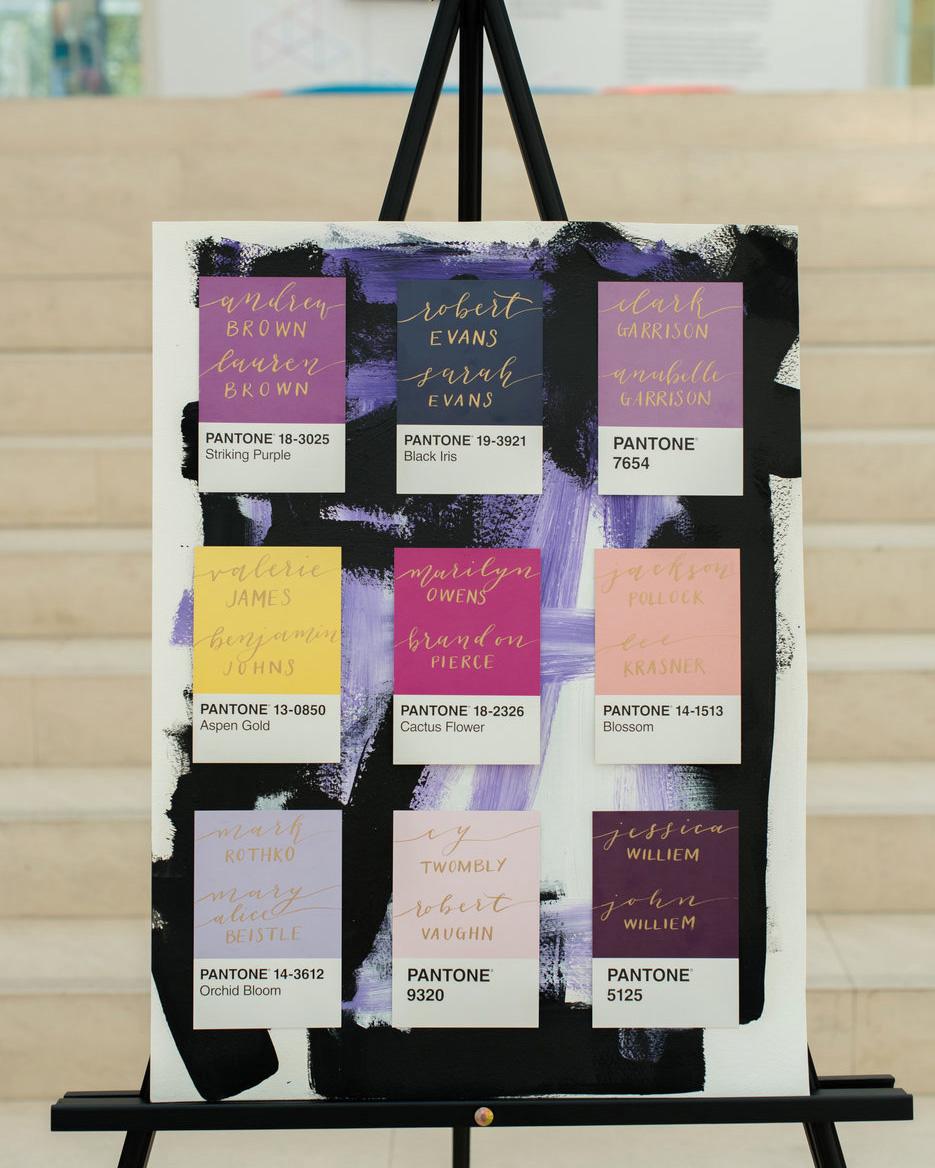 art-inspired wedding ideas pantone seating chart
