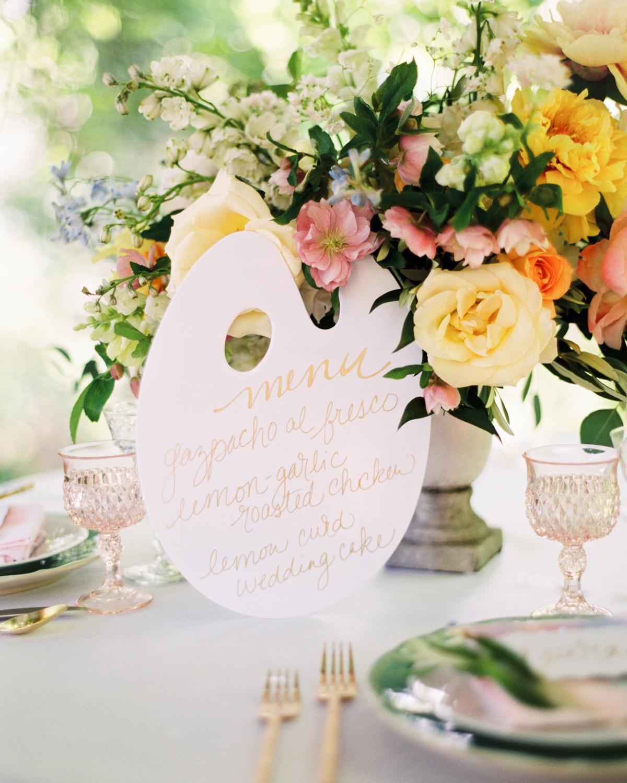 art-inspired wedding ideas painter palette menu