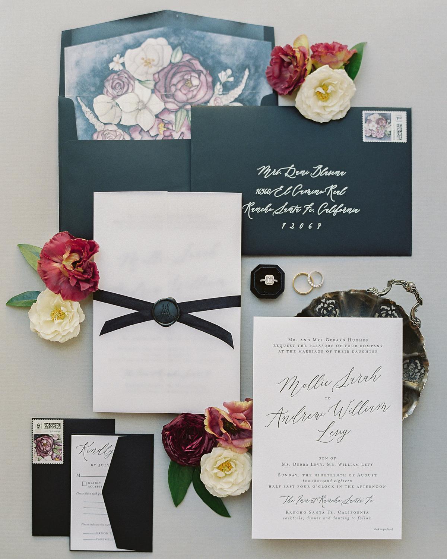 art-inspired wedding ideas floral envelope liner
