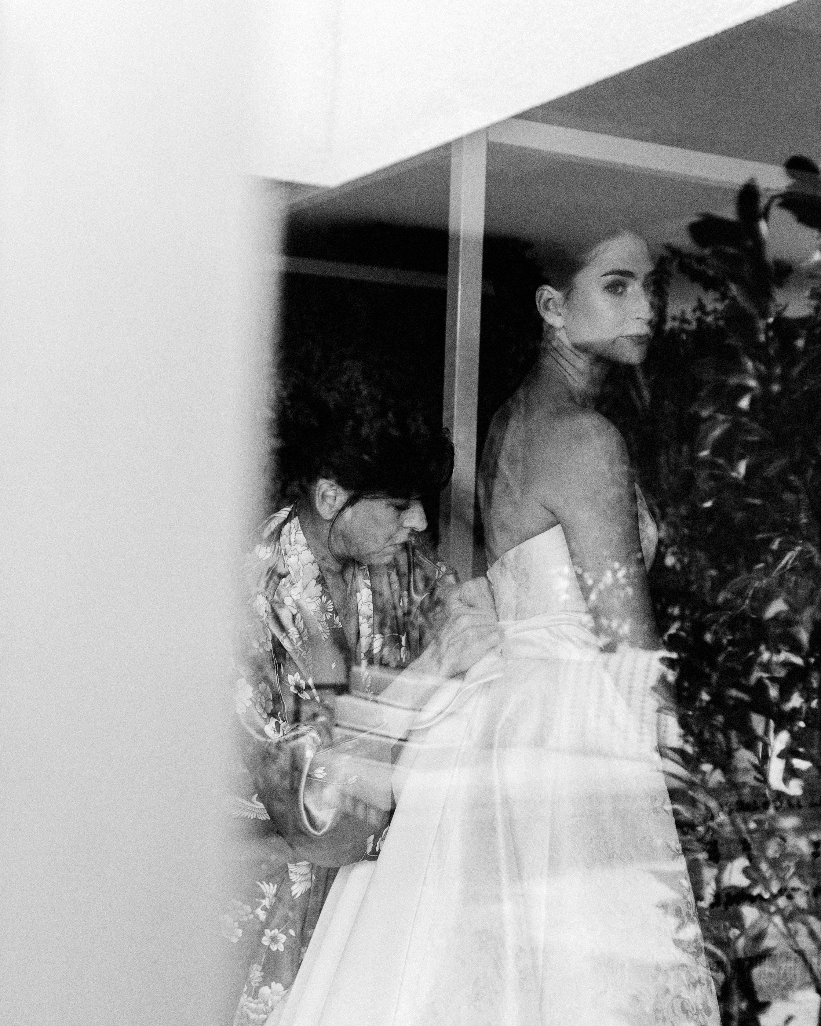 mia patrick wedding bride getting ready black and white