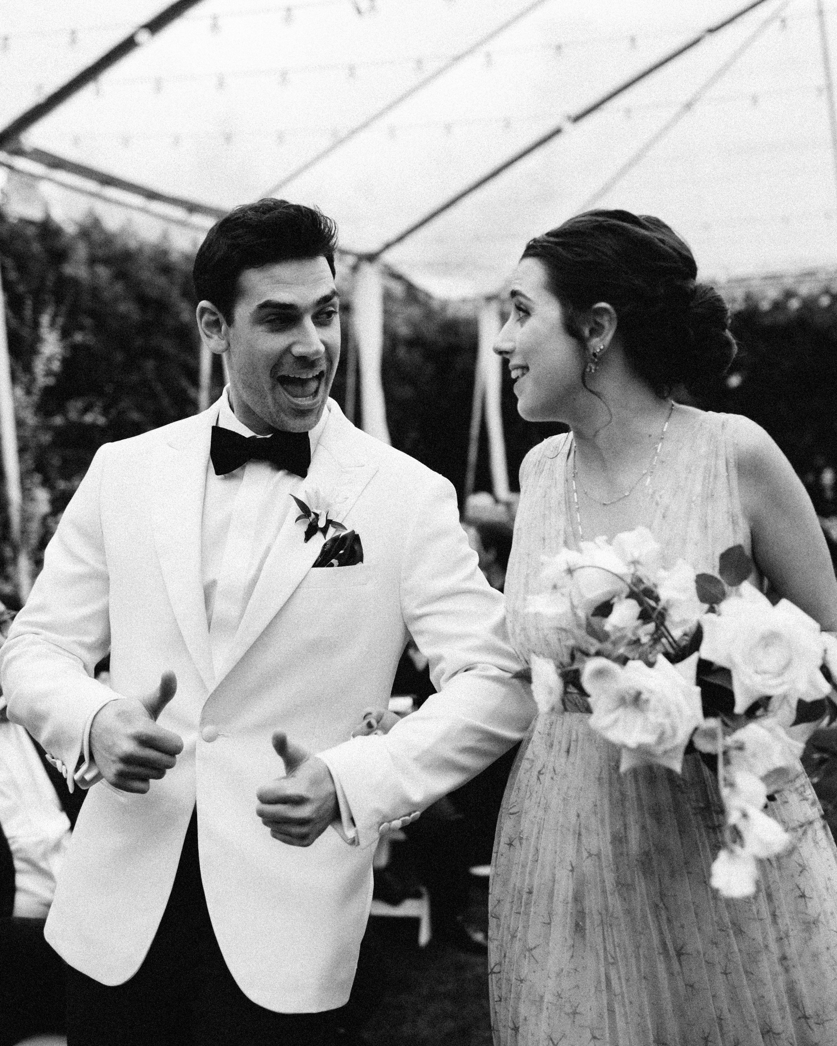 mia patrick wedding party bridesmaid groom thumbs up
