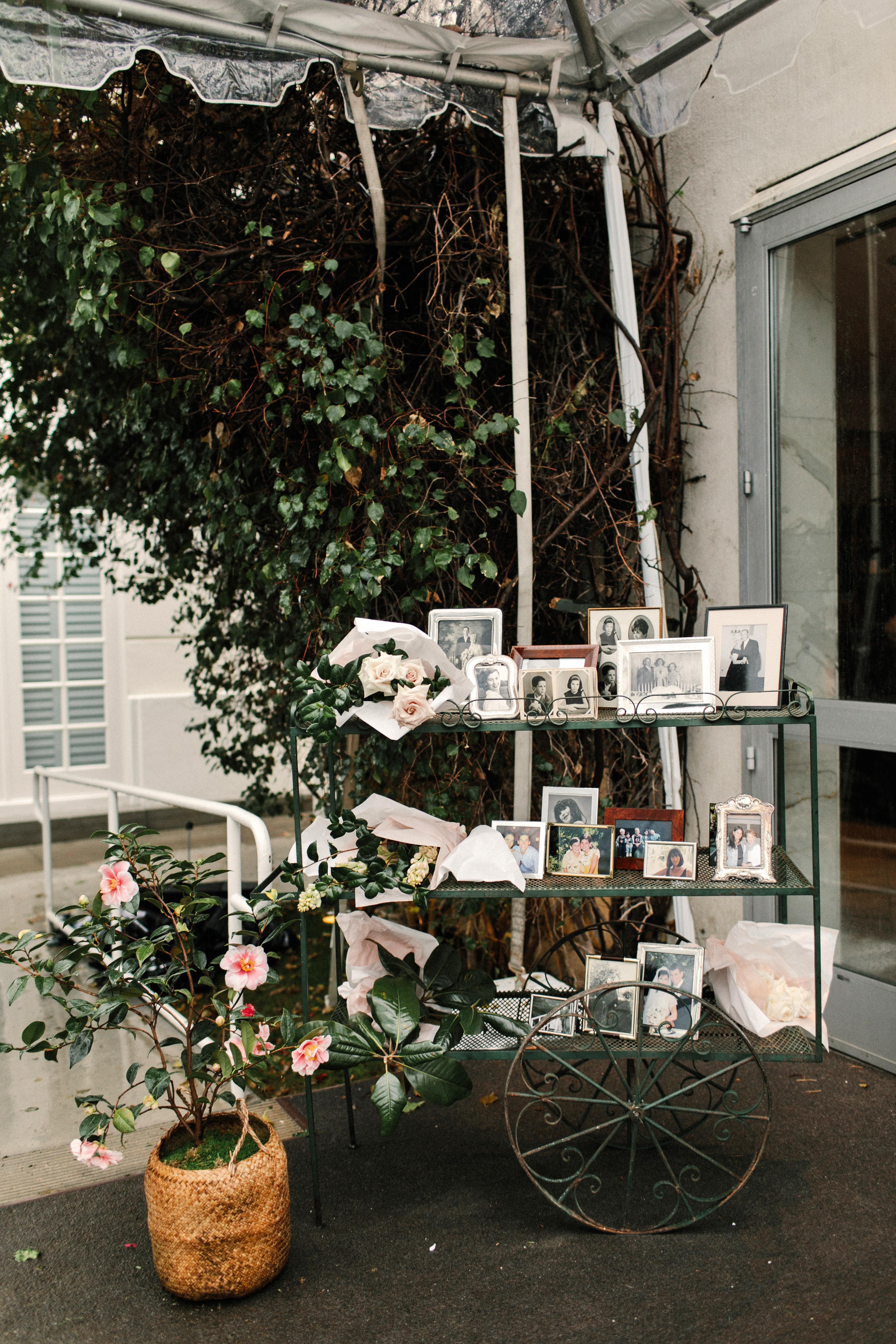 mia patrick wedding vintage cart with family photos
