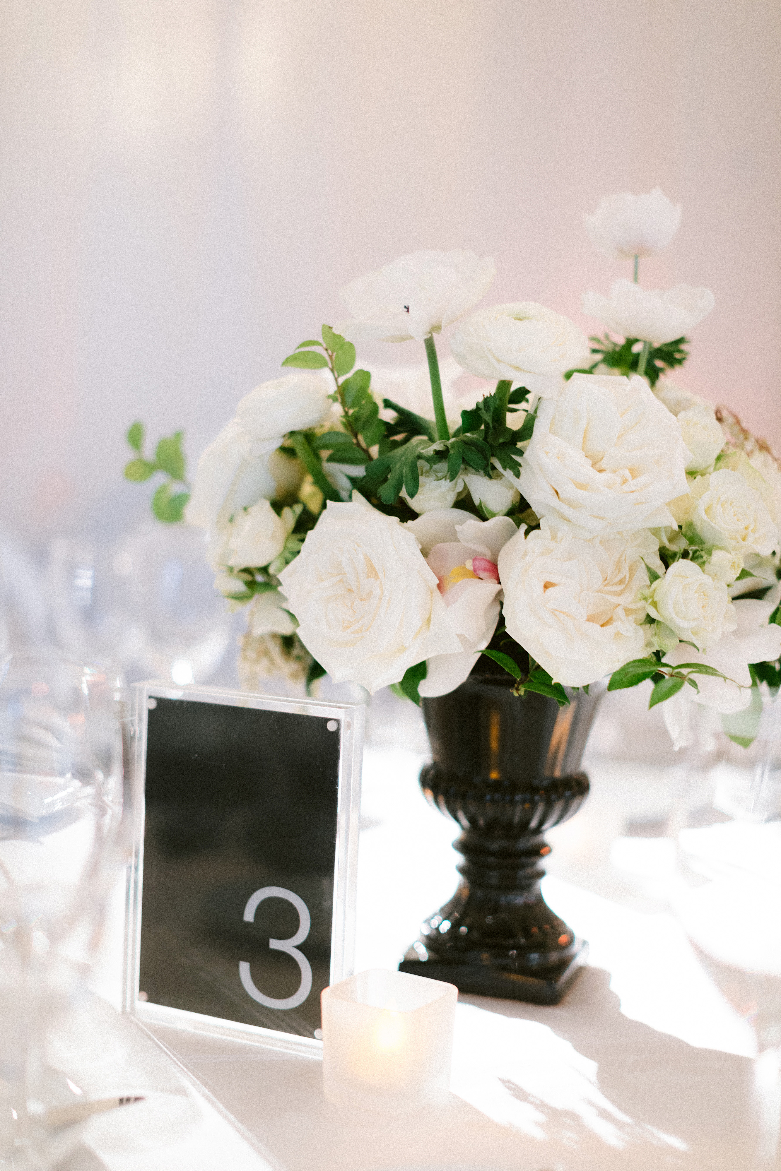 henery michael wedding floral centerpiece and table number
