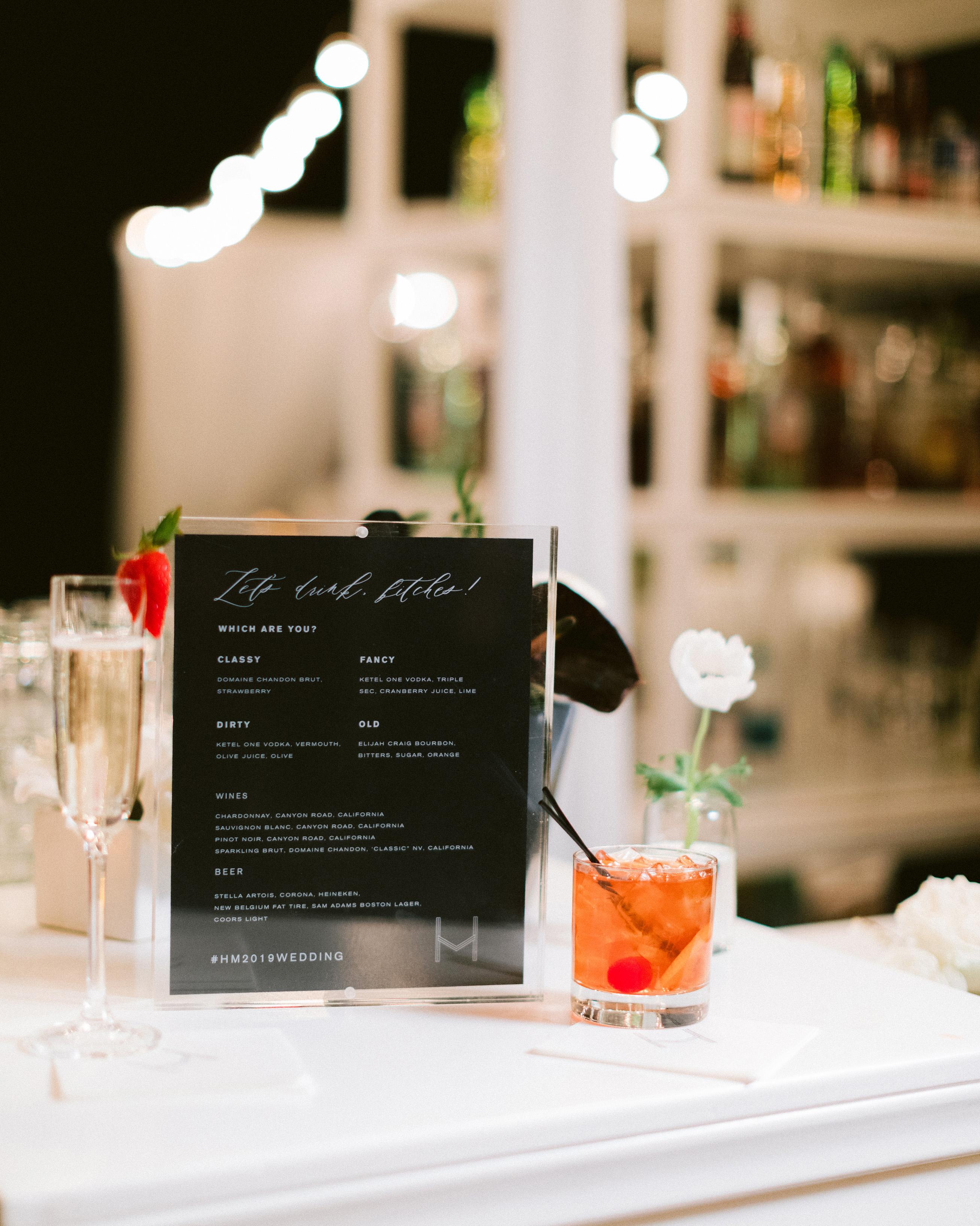 henery michael wedding bar menu